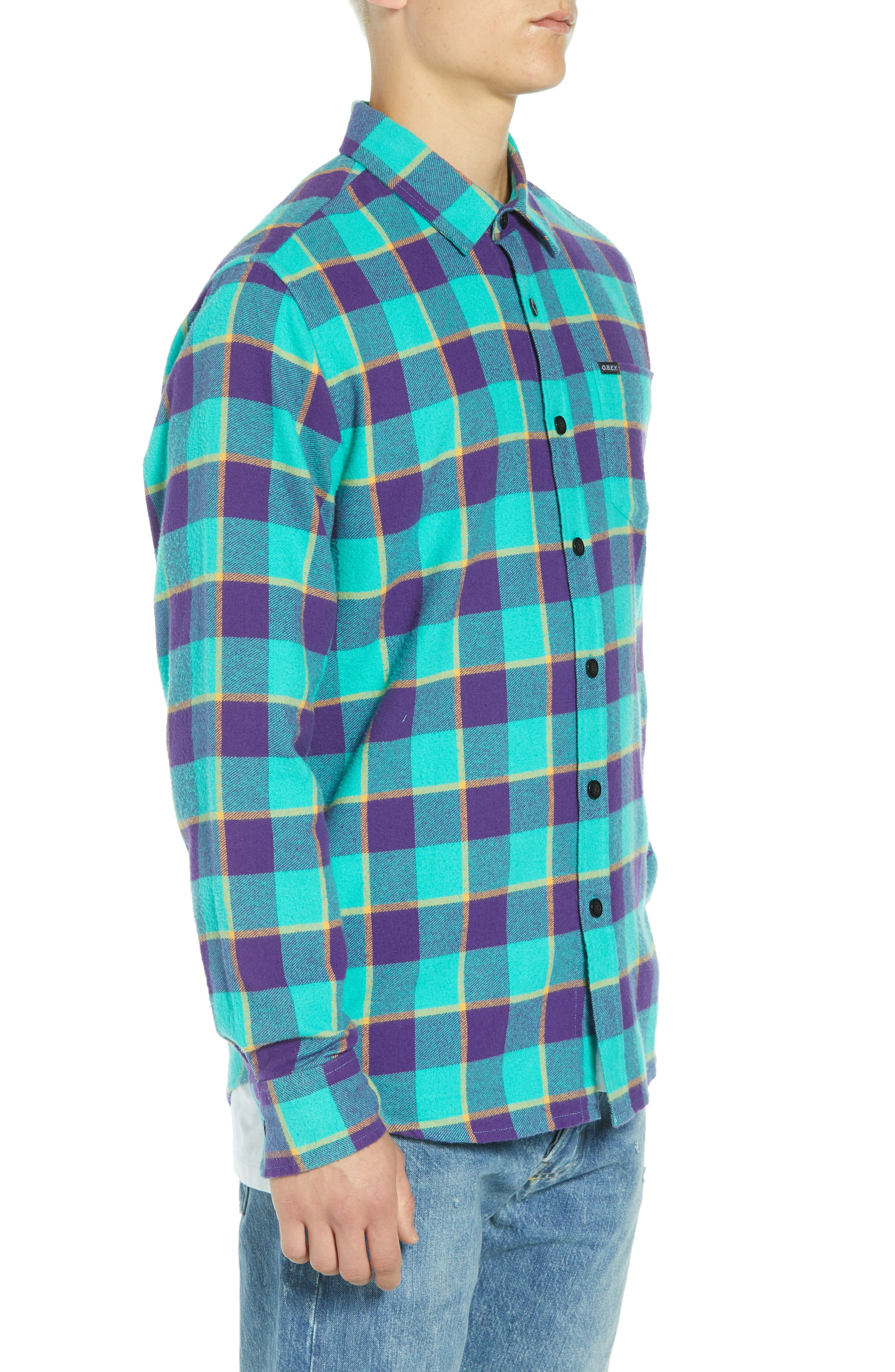 Ventura Plaid Flannel Shirt,                             Alternate thumbnail 4, color,                             TEAL MULTI