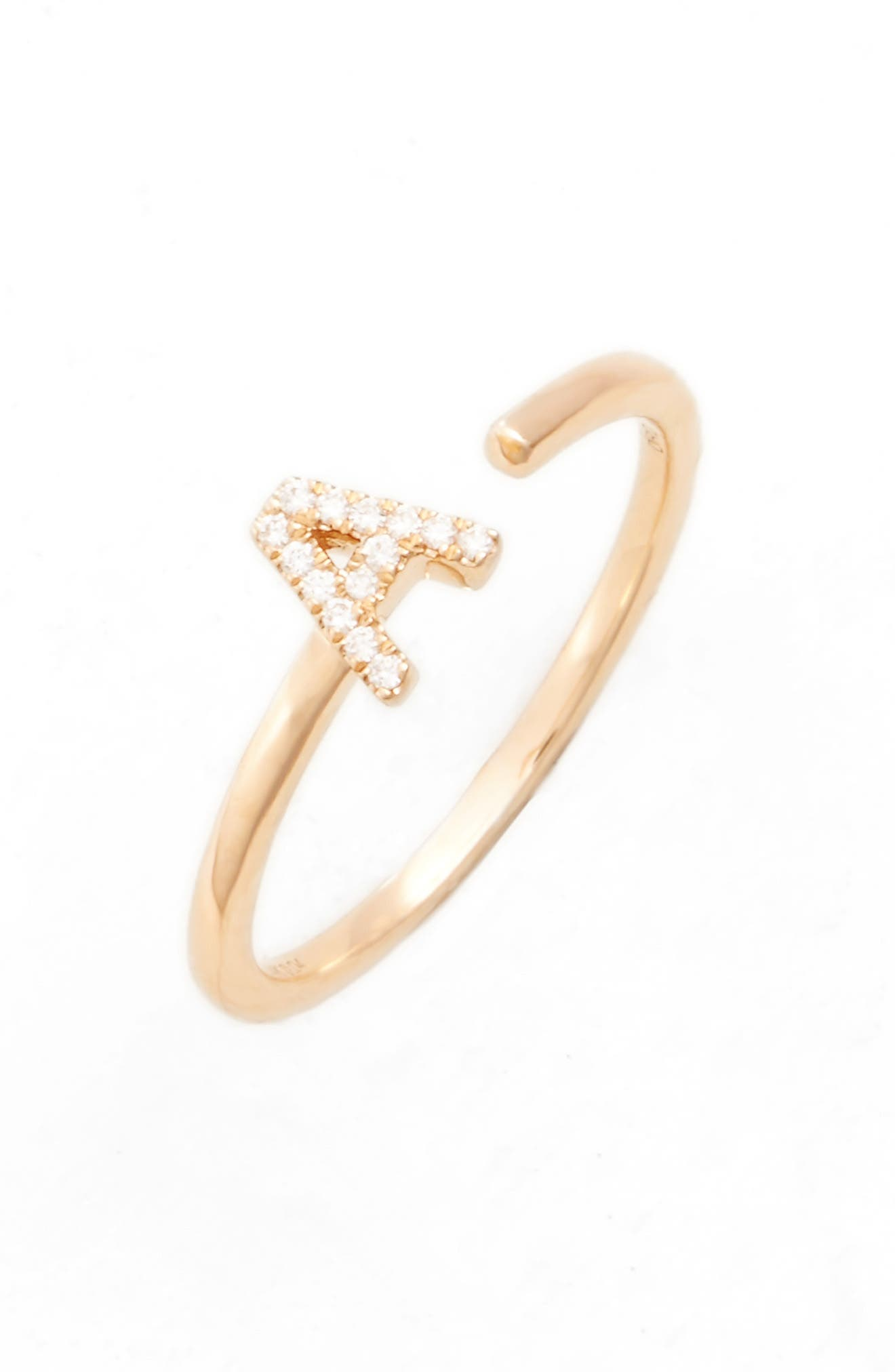 Single Initial Open Ring,                         Main,                         color, 710