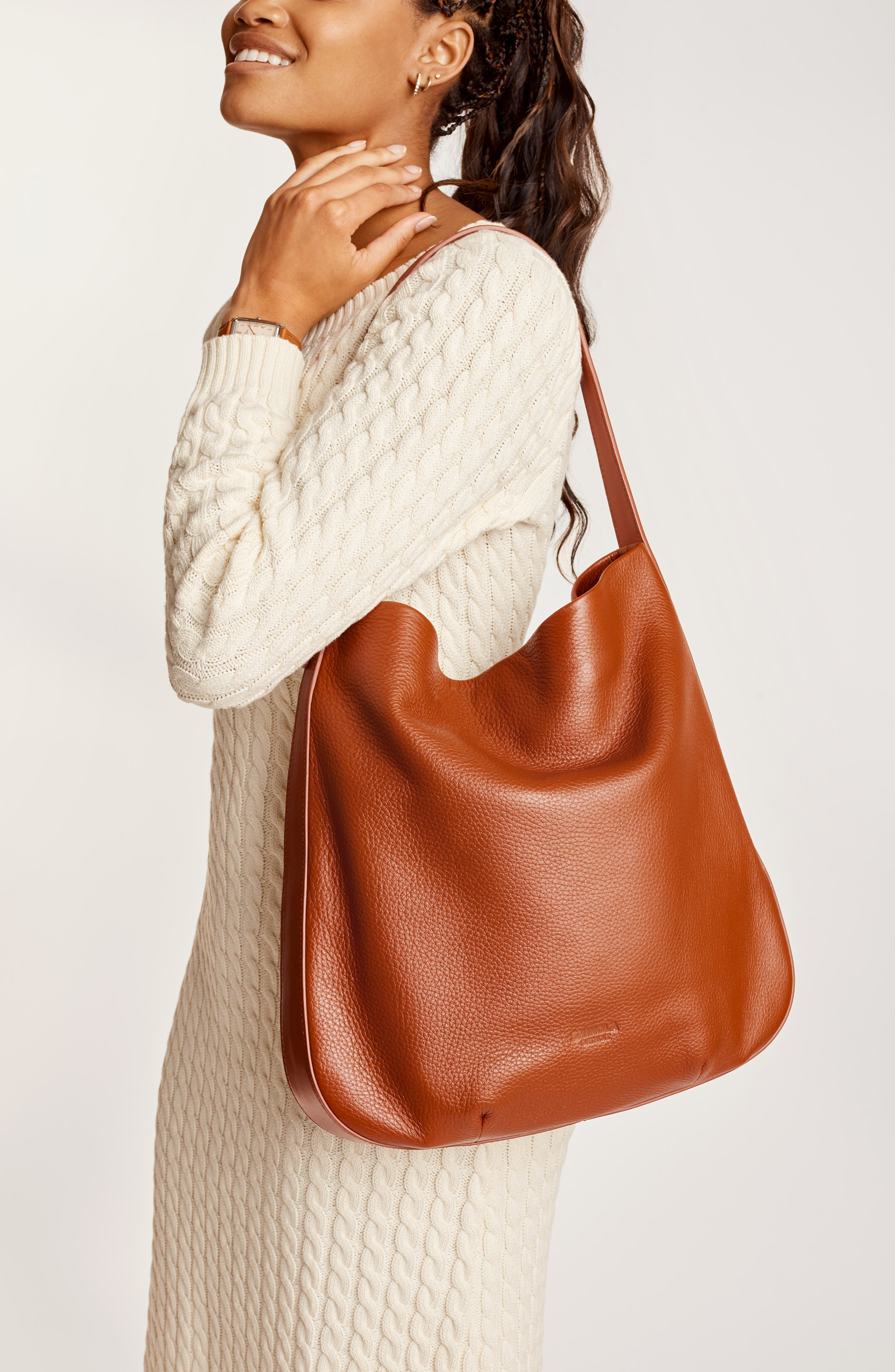 Birdy Grained Leather Hobo Bag,                             Alternate thumbnail 2, color,                             BOURBON