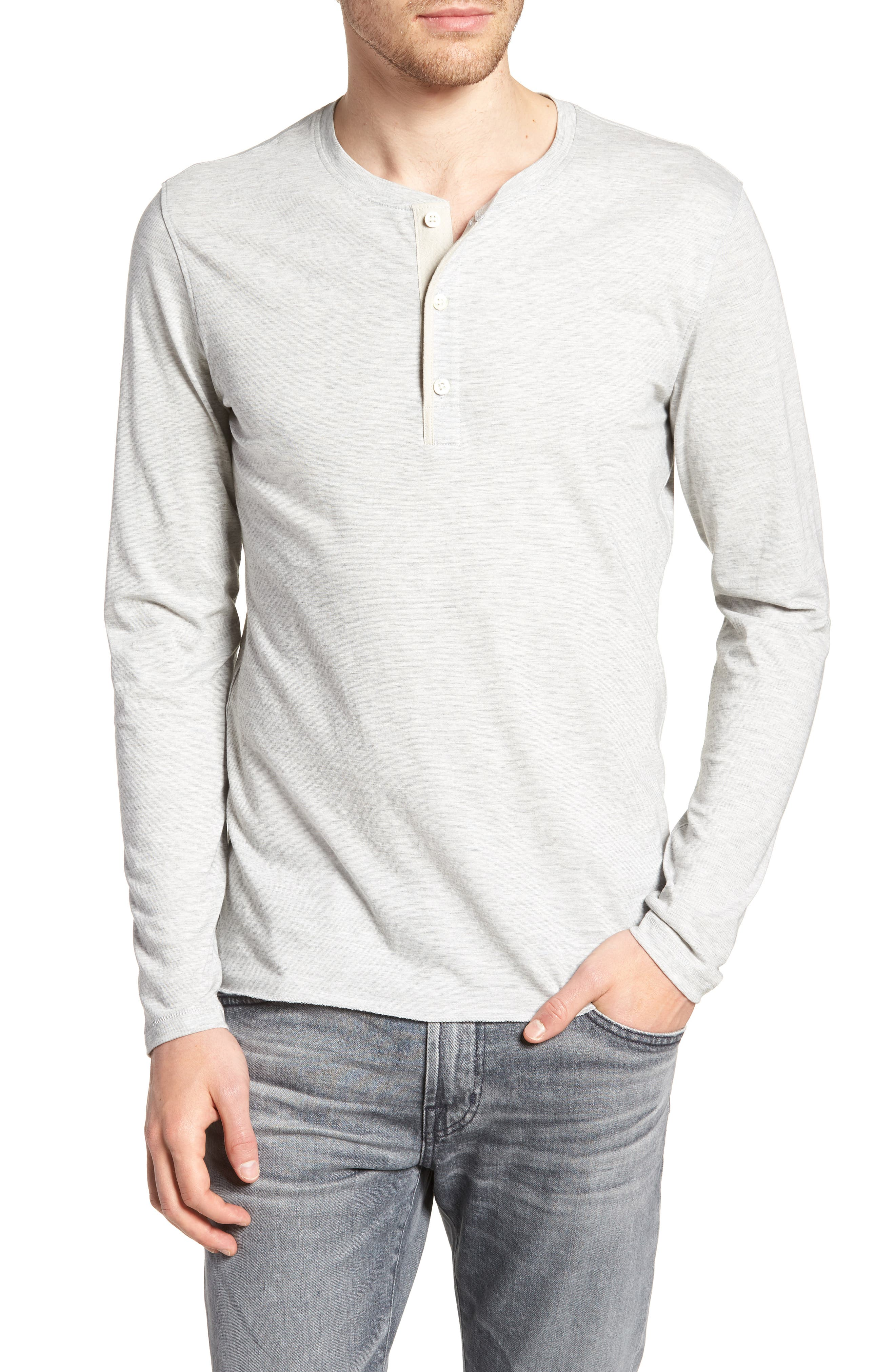 Hartford Slim Fit Henley,                         Main,                         color, GREY