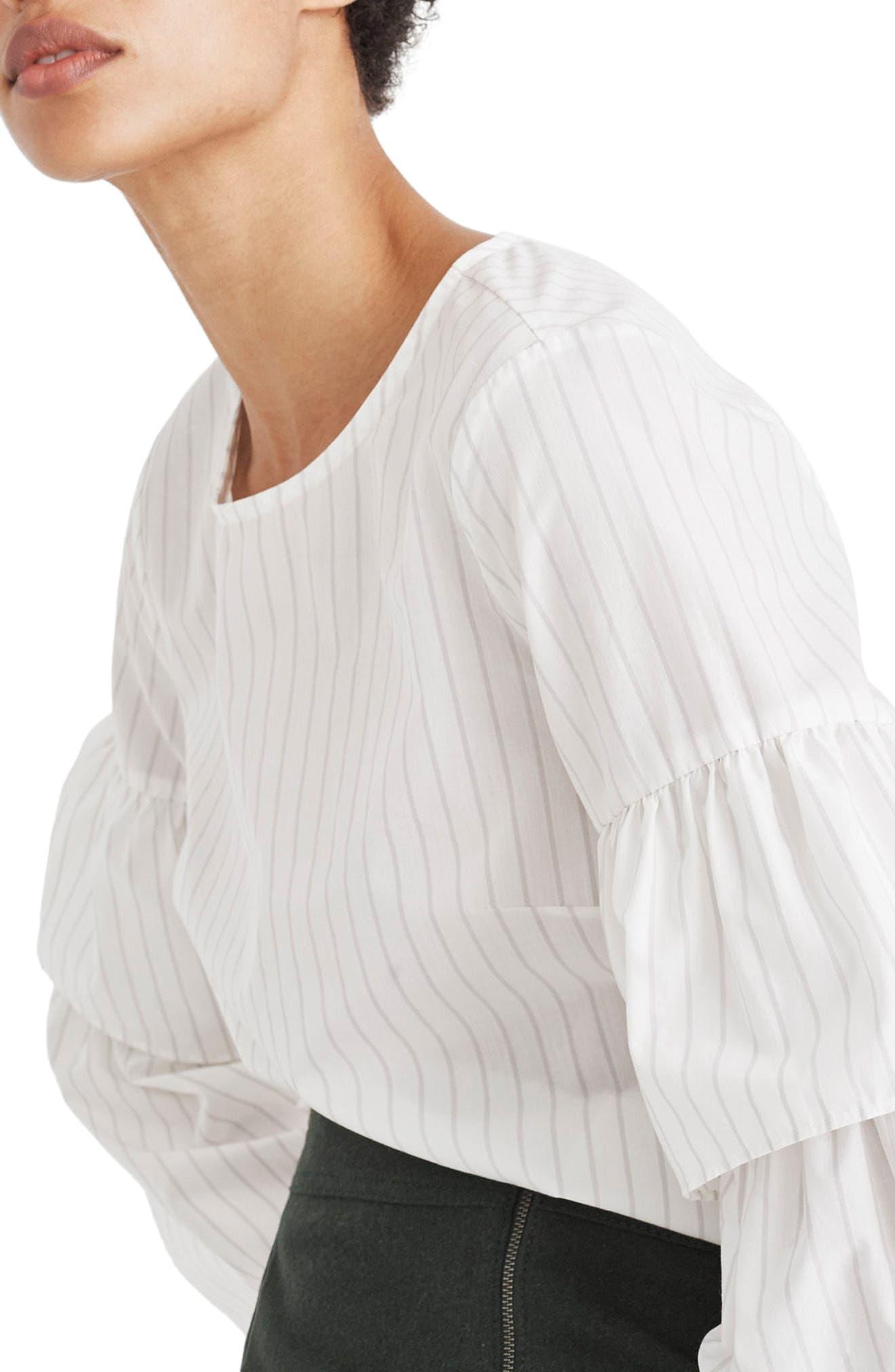 Stripe Ruffle Sleeve Top,                             Main thumbnail 1, color,                             100
