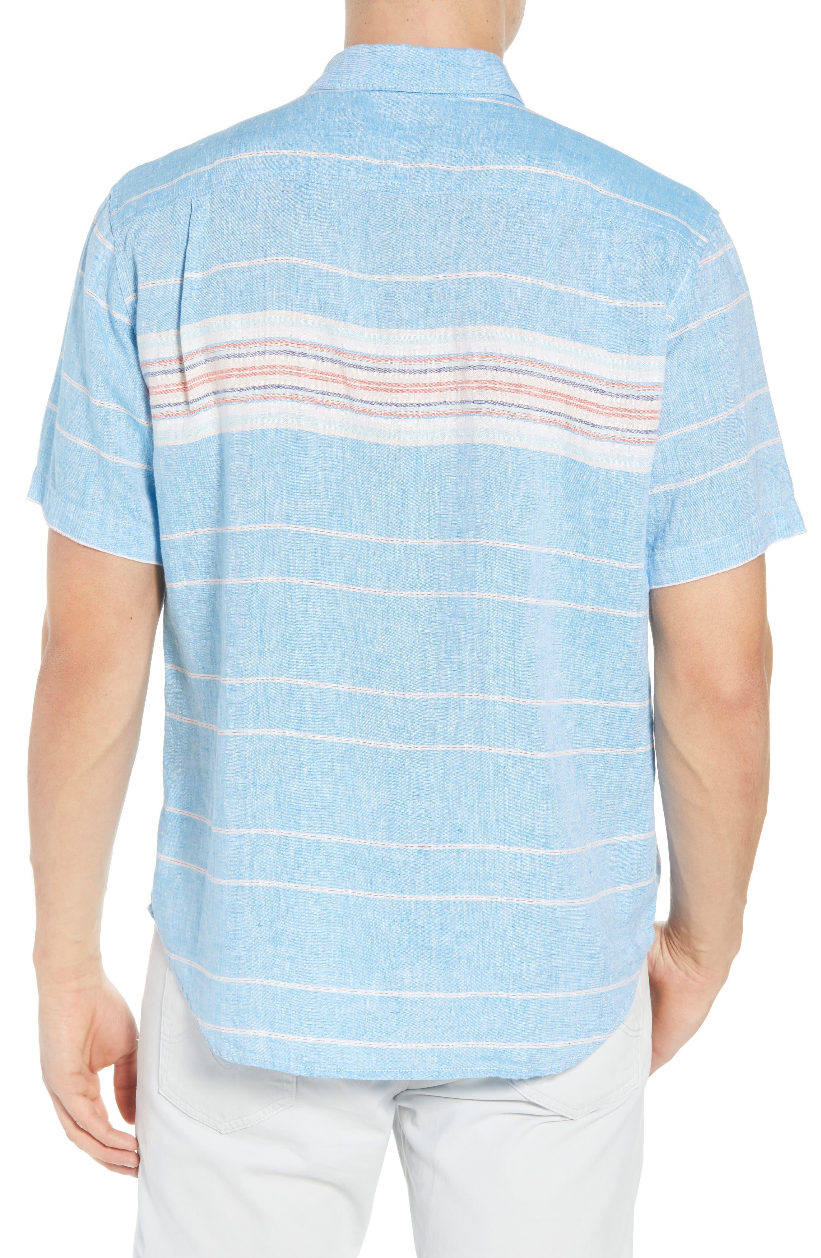Serape Stripe Linen Sport Shirt,                             Alternate thumbnail 2, color,                             BLUE ASTER