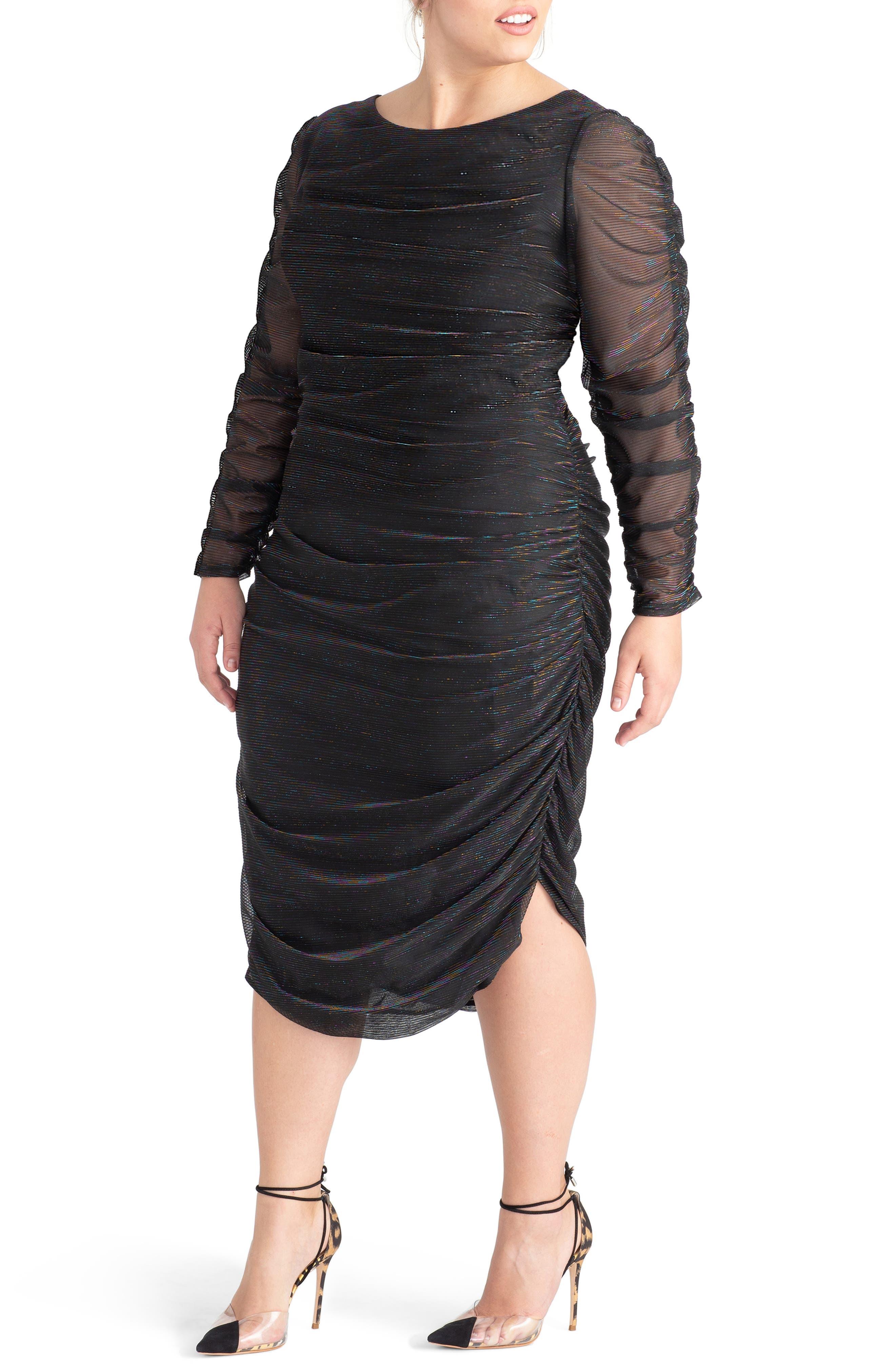 Plus Size Rachel Rachel Roy Metallic Pinstripe Ruched Dress, Black