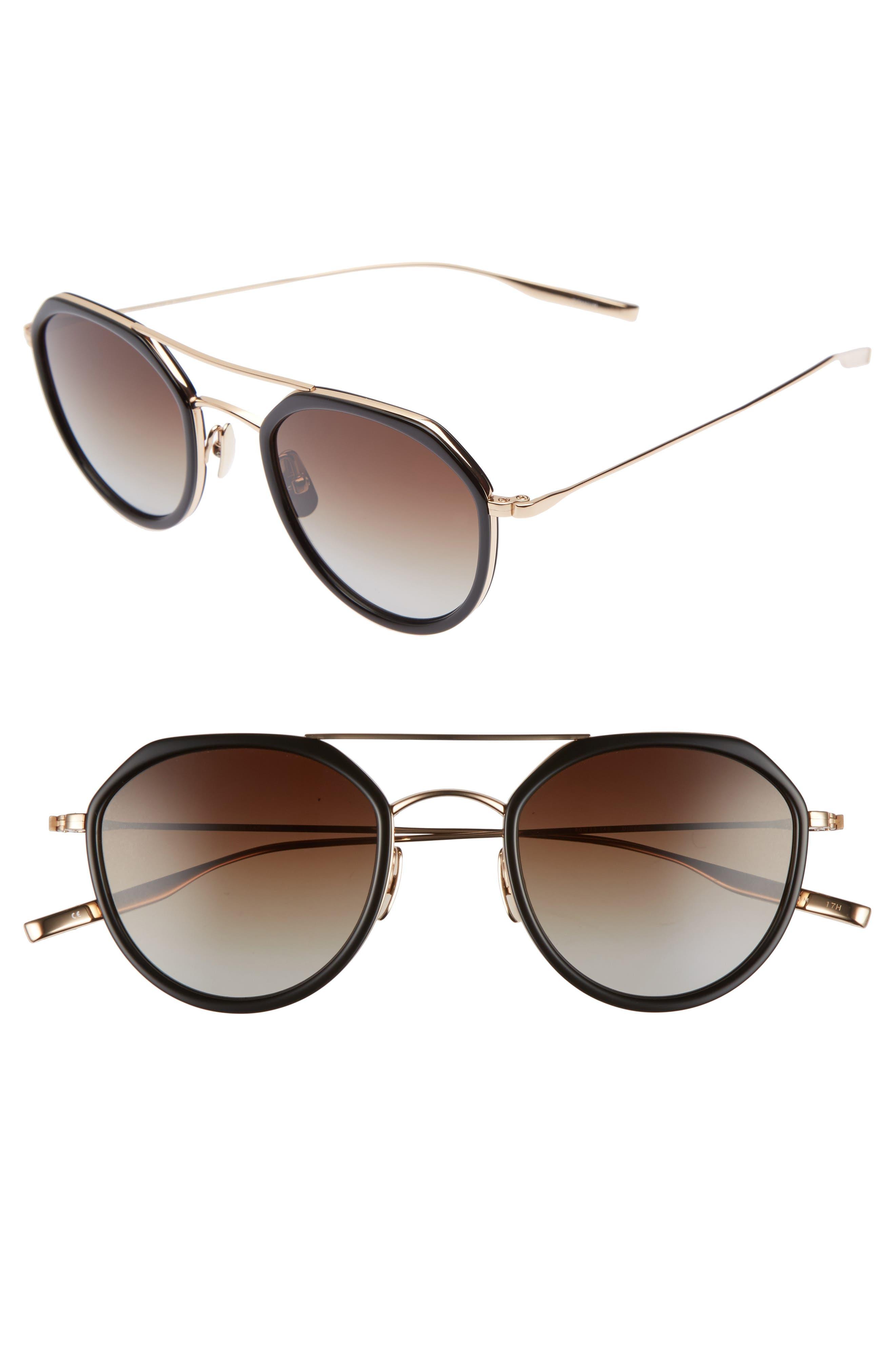 Dibergi Resin 50mm Polarized Round Sunglasses,                         Main,                         color, BLACK/ HONEY GOLD