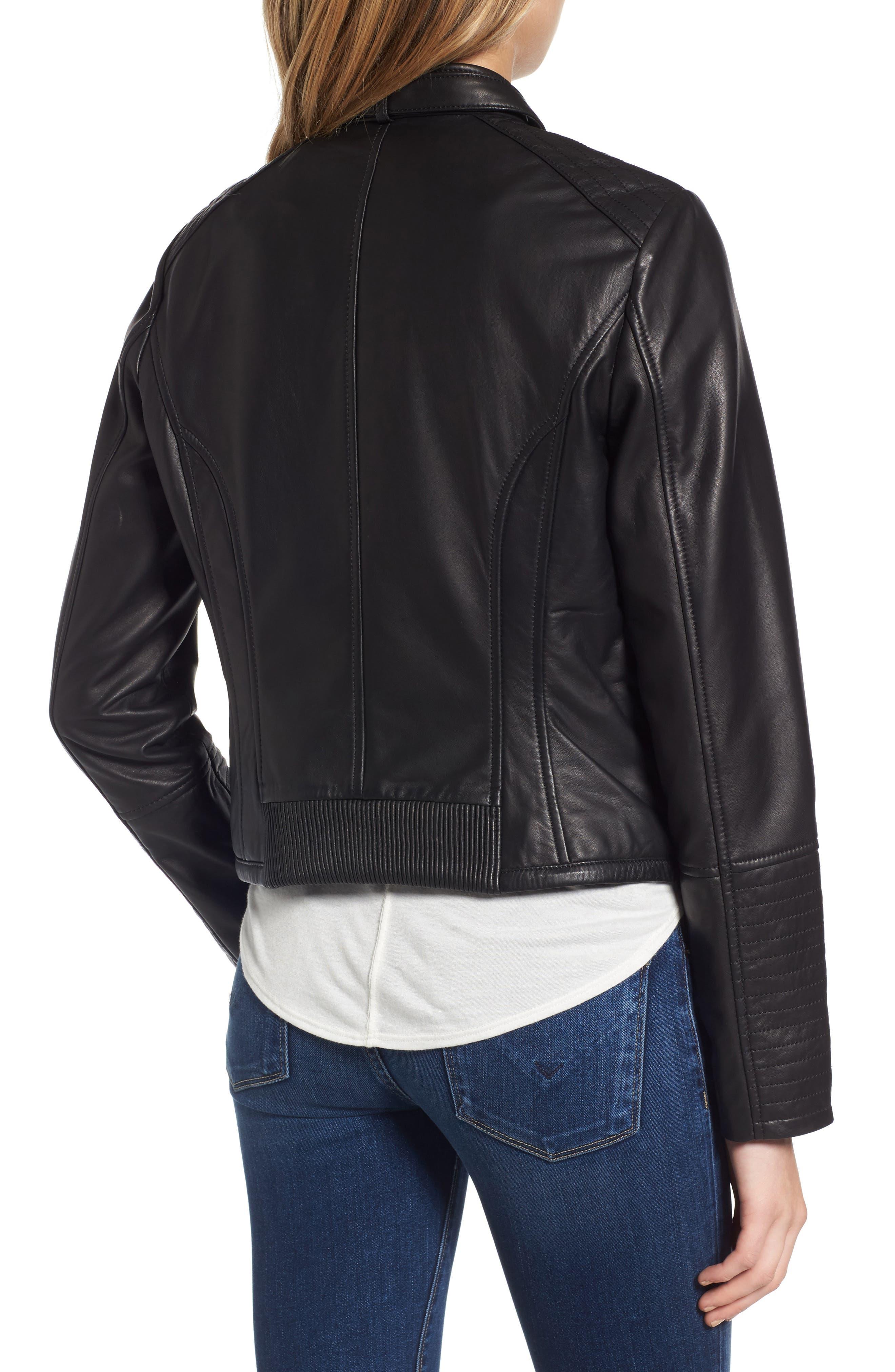 Jetta Asymmetrical Zip Leather Jacket,                             Alternate thumbnail 2, color,                             001