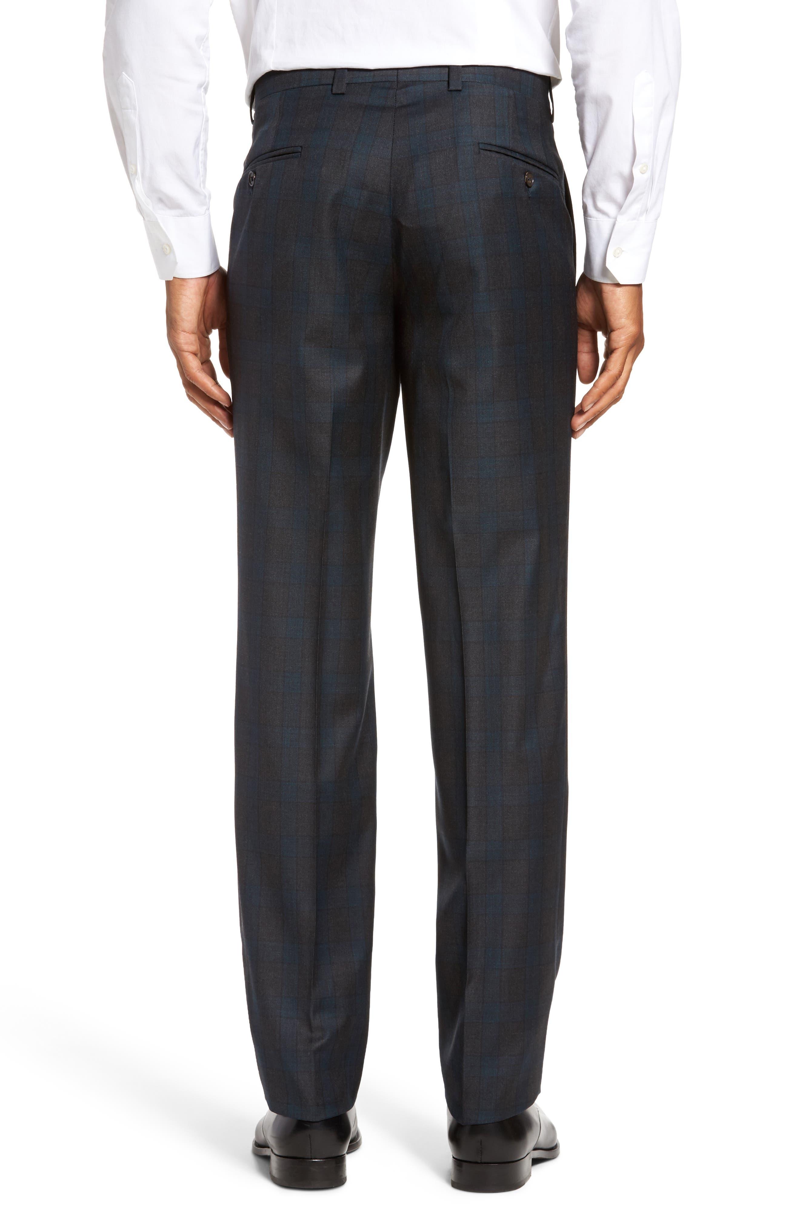 Jefferson Flat Front Plaid Wool Trousers,                             Alternate thumbnail 3, color,                             020