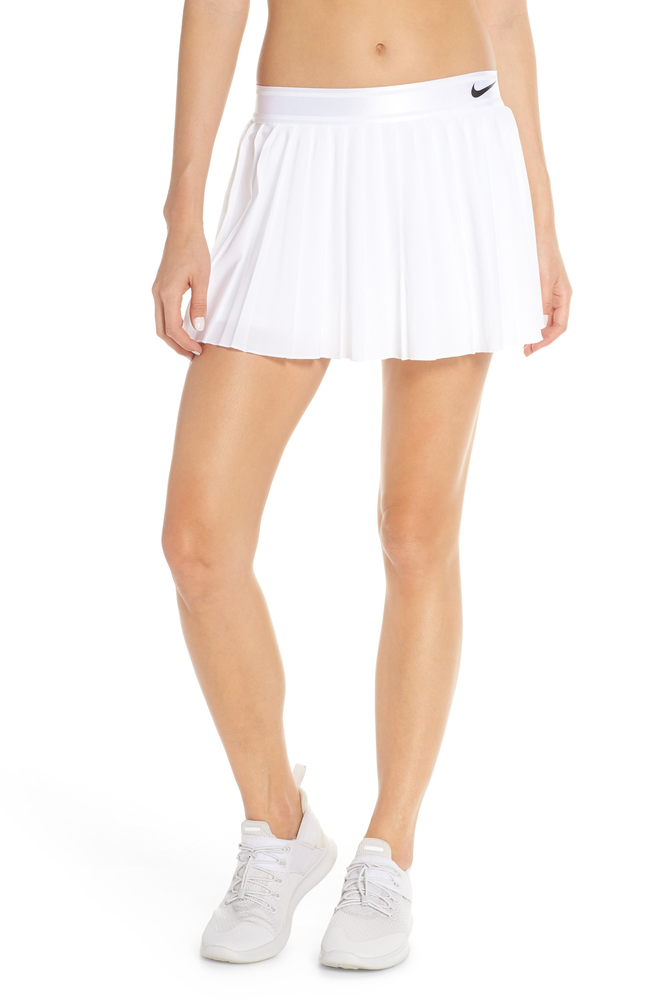 Court Victory Tennis Skirt,                         Main,                         color, WHITE/ BLACK