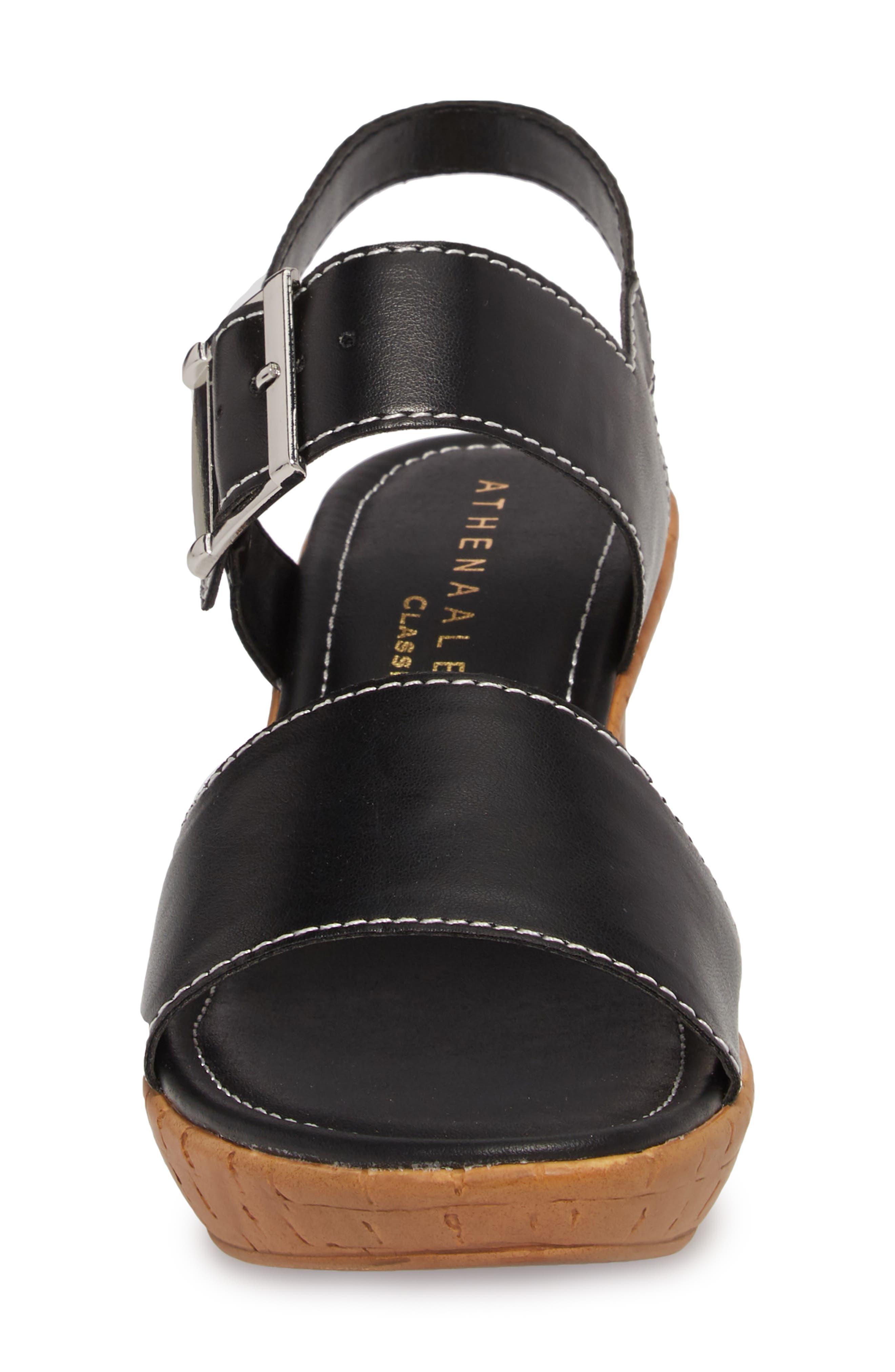 Shelter Platform Wedge Sandal,                             Alternate thumbnail 4, color,                             BLACK FAUX LEATHER