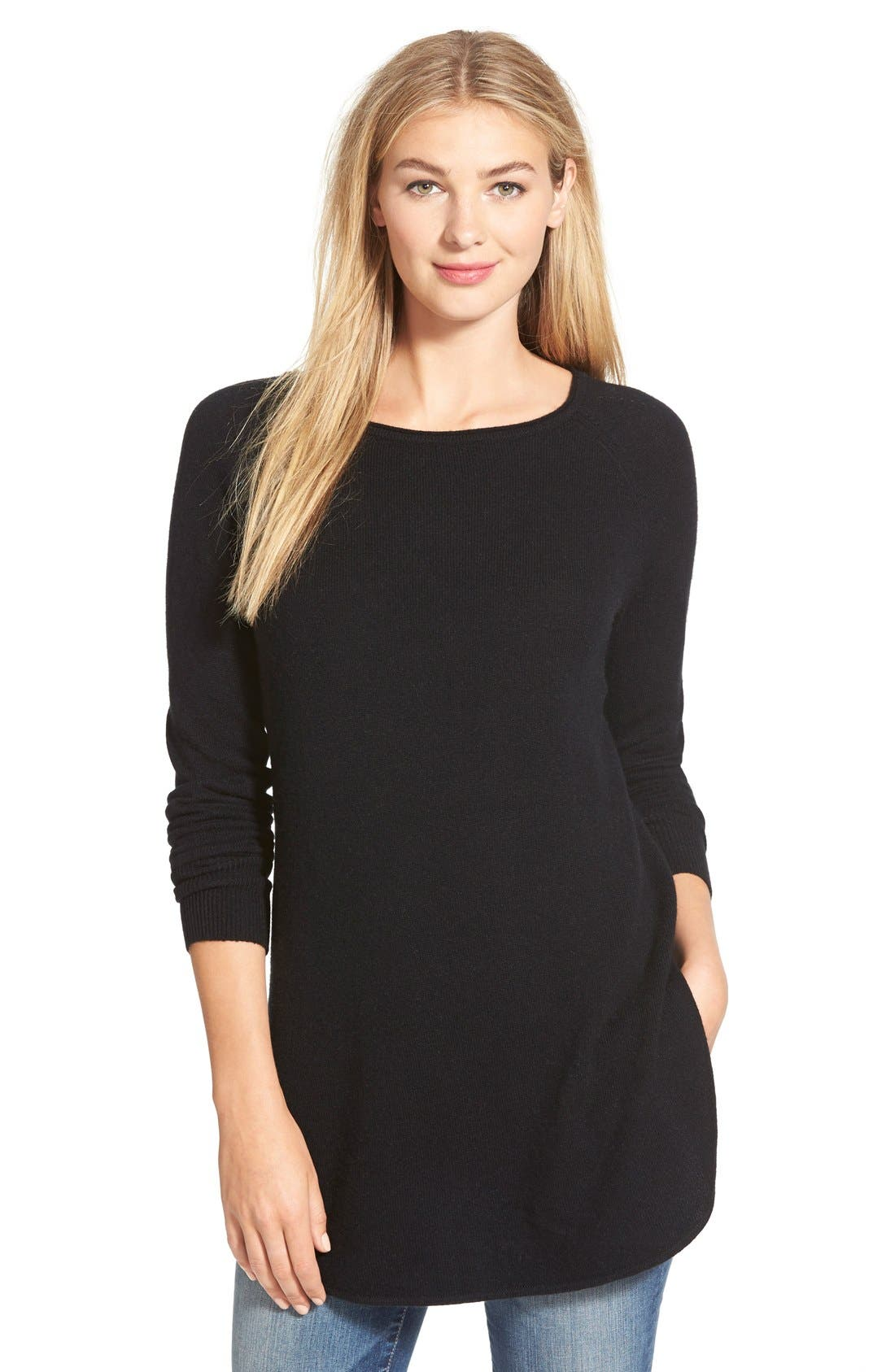 Shirttail Wool & Cashmere Boatneck Tunic,                             Main thumbnail 1, color,                             BLACK