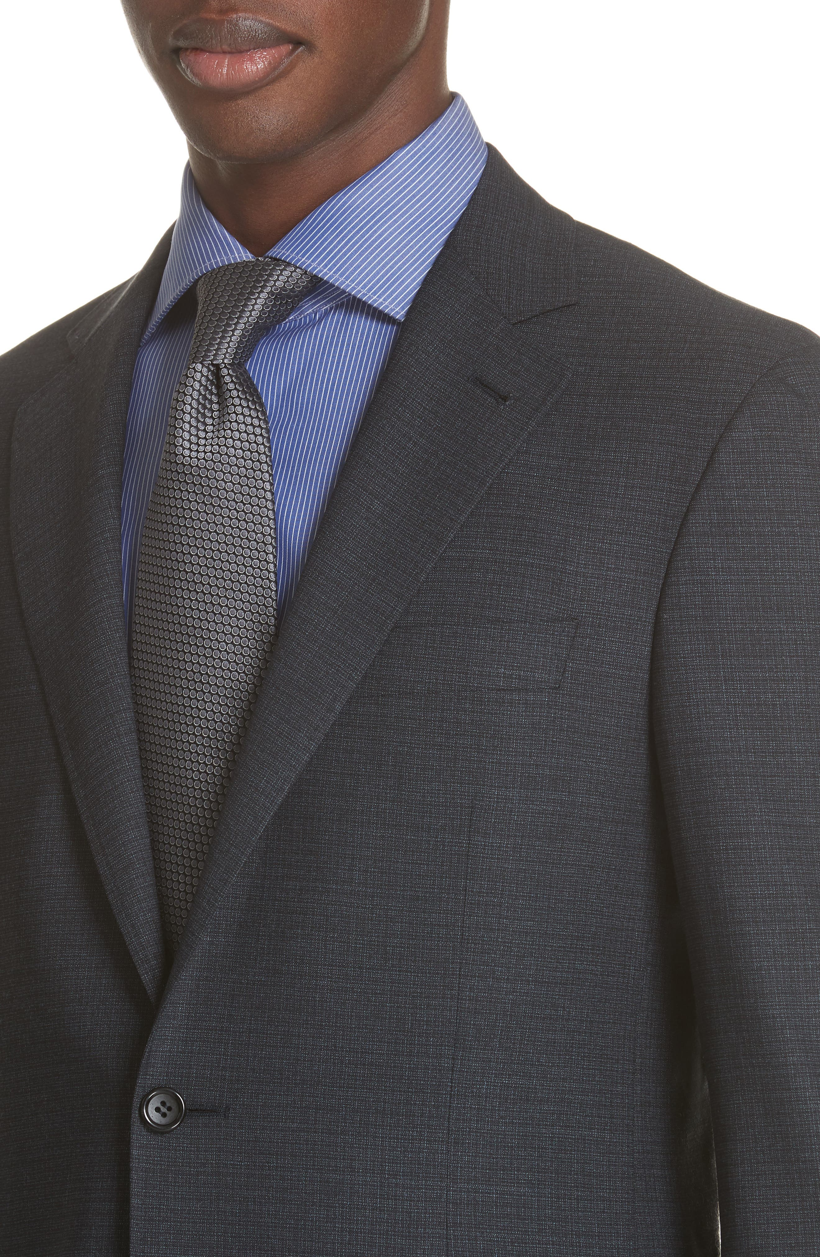 CANALI,                             Classic Fit Stretch Check Wool Suit,                             Alternate thumbnail 4, color,                             400
