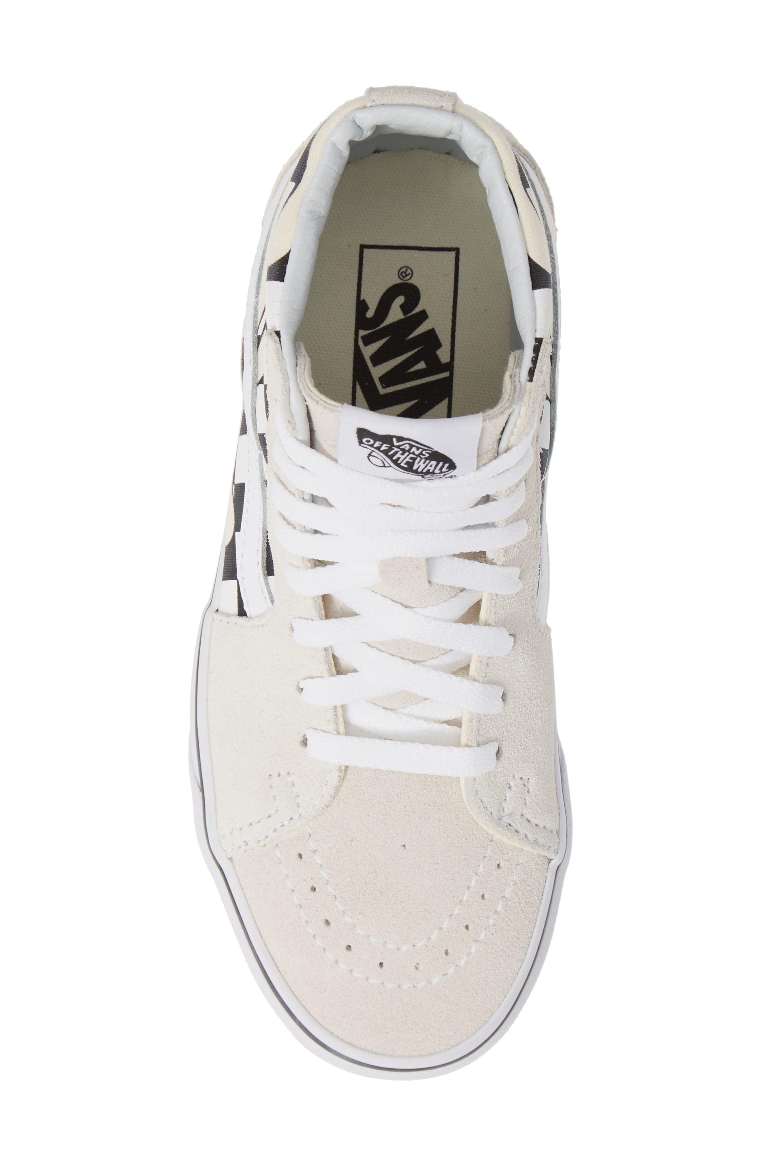 Sk8-Hi Checker Sneaker,                             Alternate thumbnail 5, color,                             CLASSIC WHITE/ TRUE WHITE