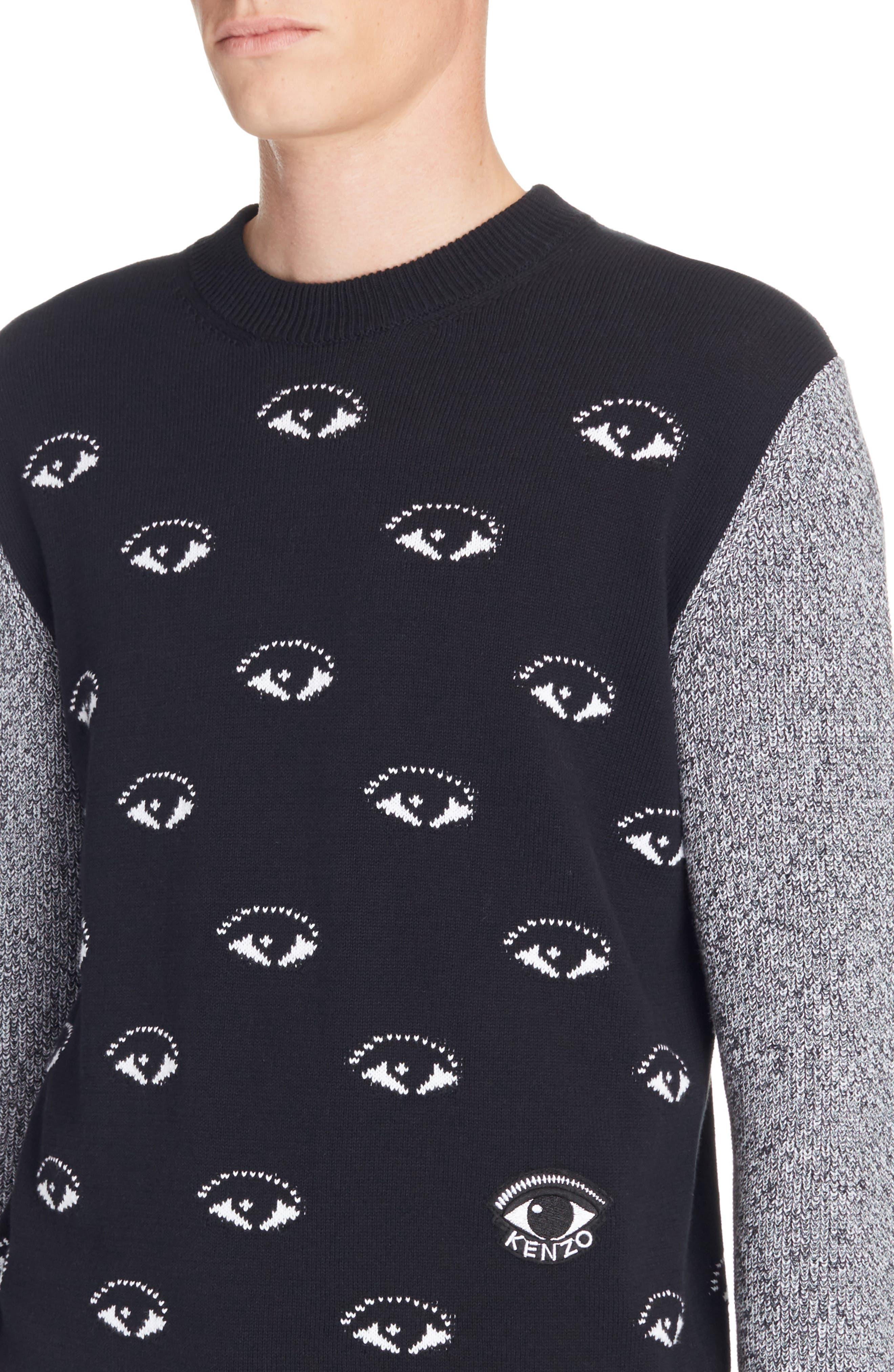 All Eyes Print Crewneck Sweater,                             Alternate thumbnail 4, color,                             001