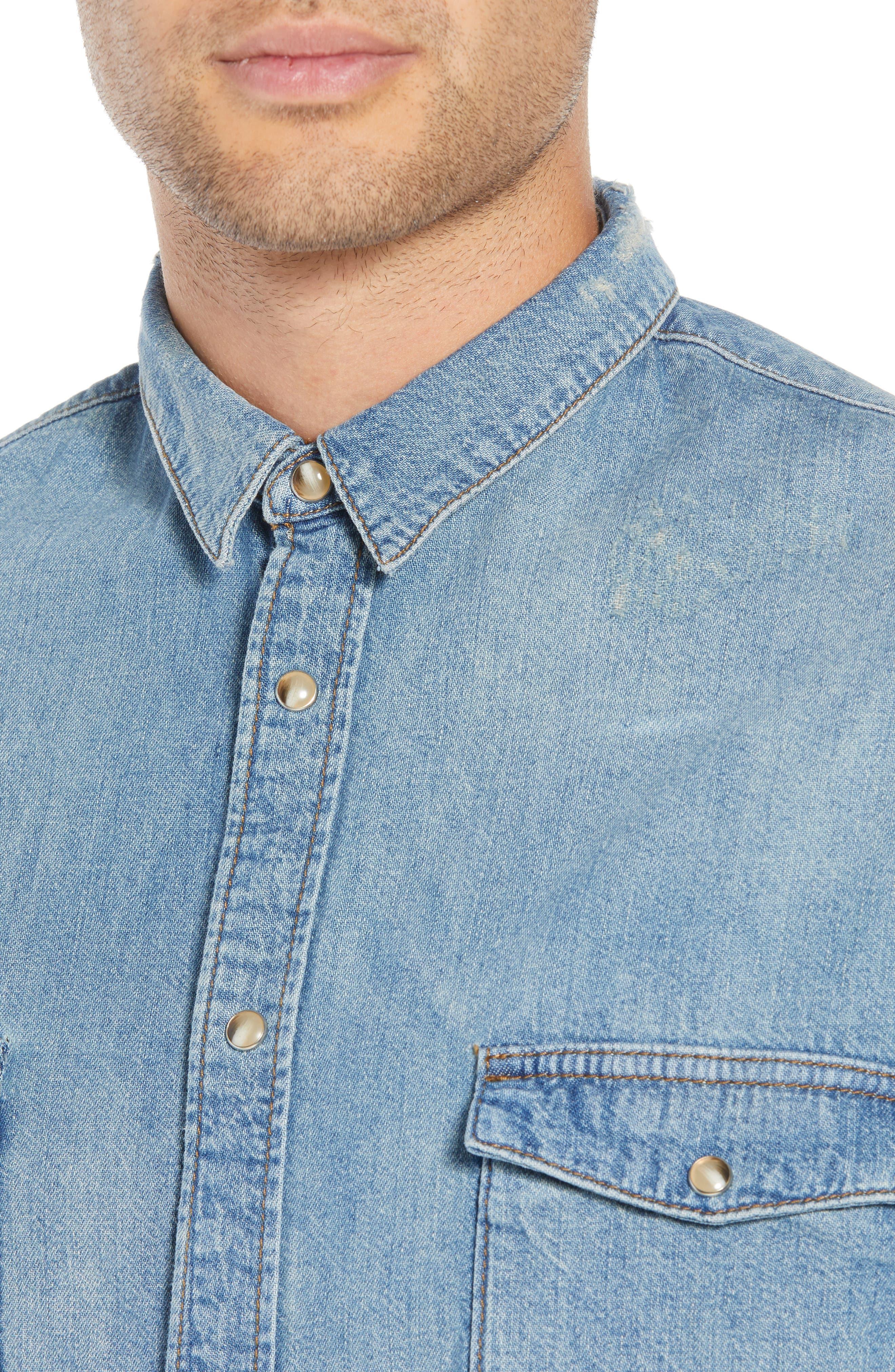 Denim Classic Fit Western Shirt,                             Alternate thumbnail 2, color,                             425