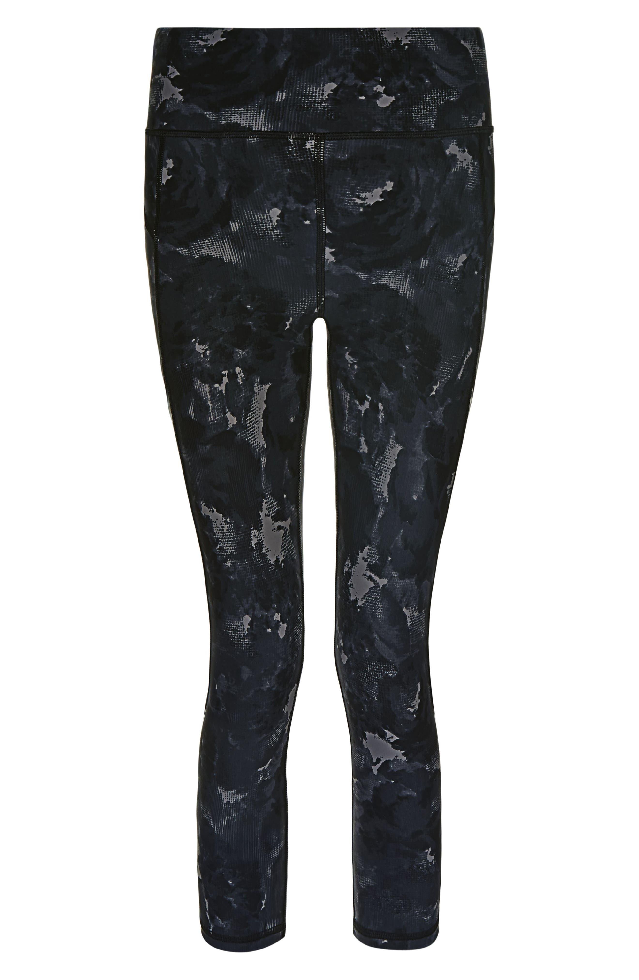 Zero Gravity Crop Leggings,                             Alternate thumbnail 6, color,                             BLACK MARKET FLORAL PRINT