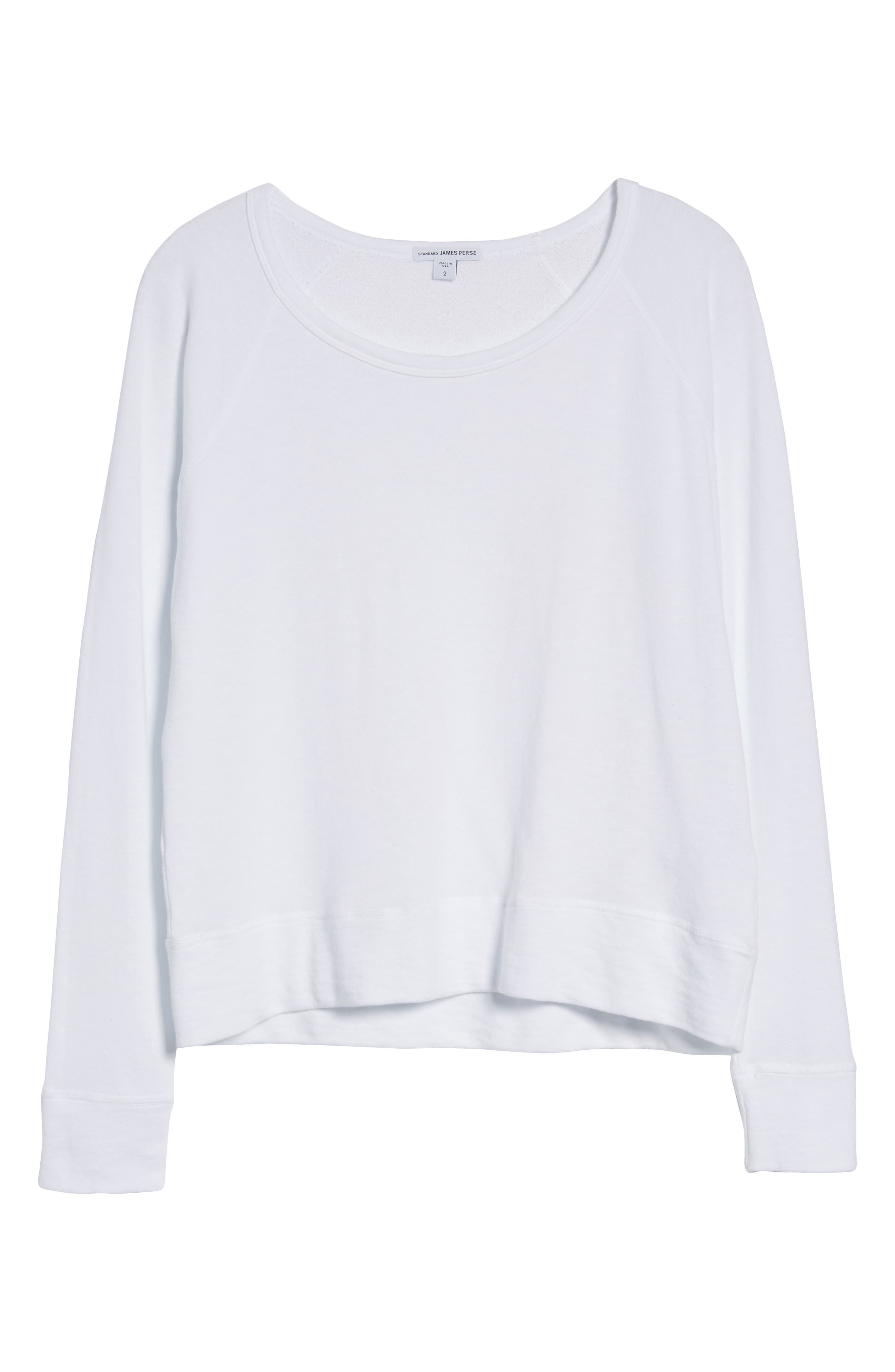 JAMES PERSE,                             Classic Raglan Sweatshirt,                             Alternate thumbnail 6, color,                             100