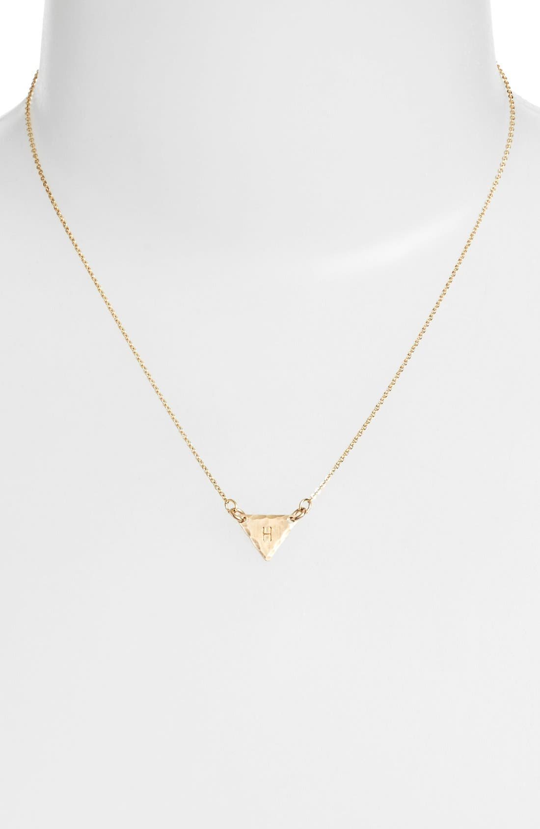 14k-Gold Fill Initial Triangle Necklace,                             Alternate thumbnail 34, color,