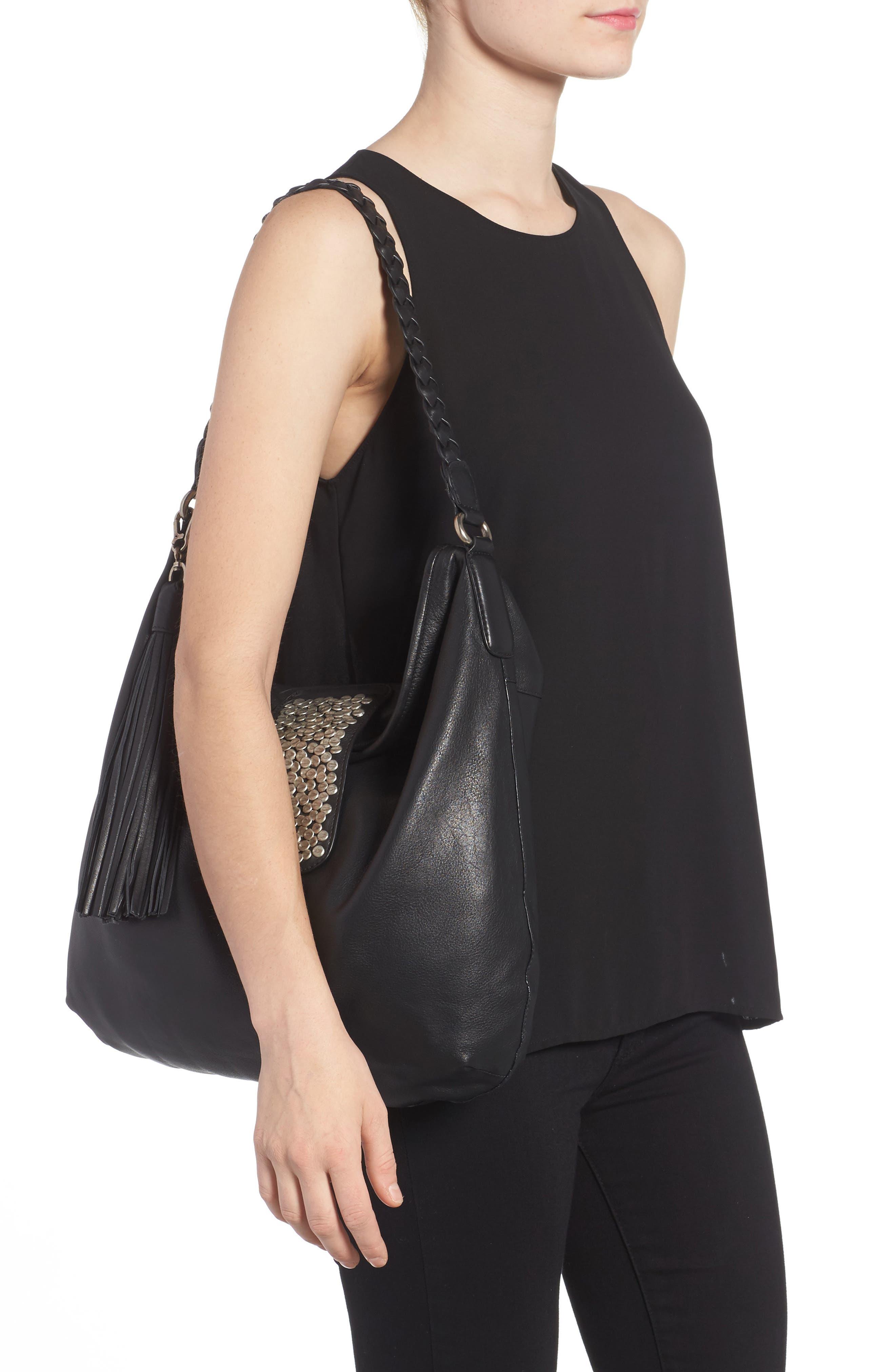 Céline Dion Cadence Leather Hobo Bag,                             Alternate thumbnail 2, color,                             001