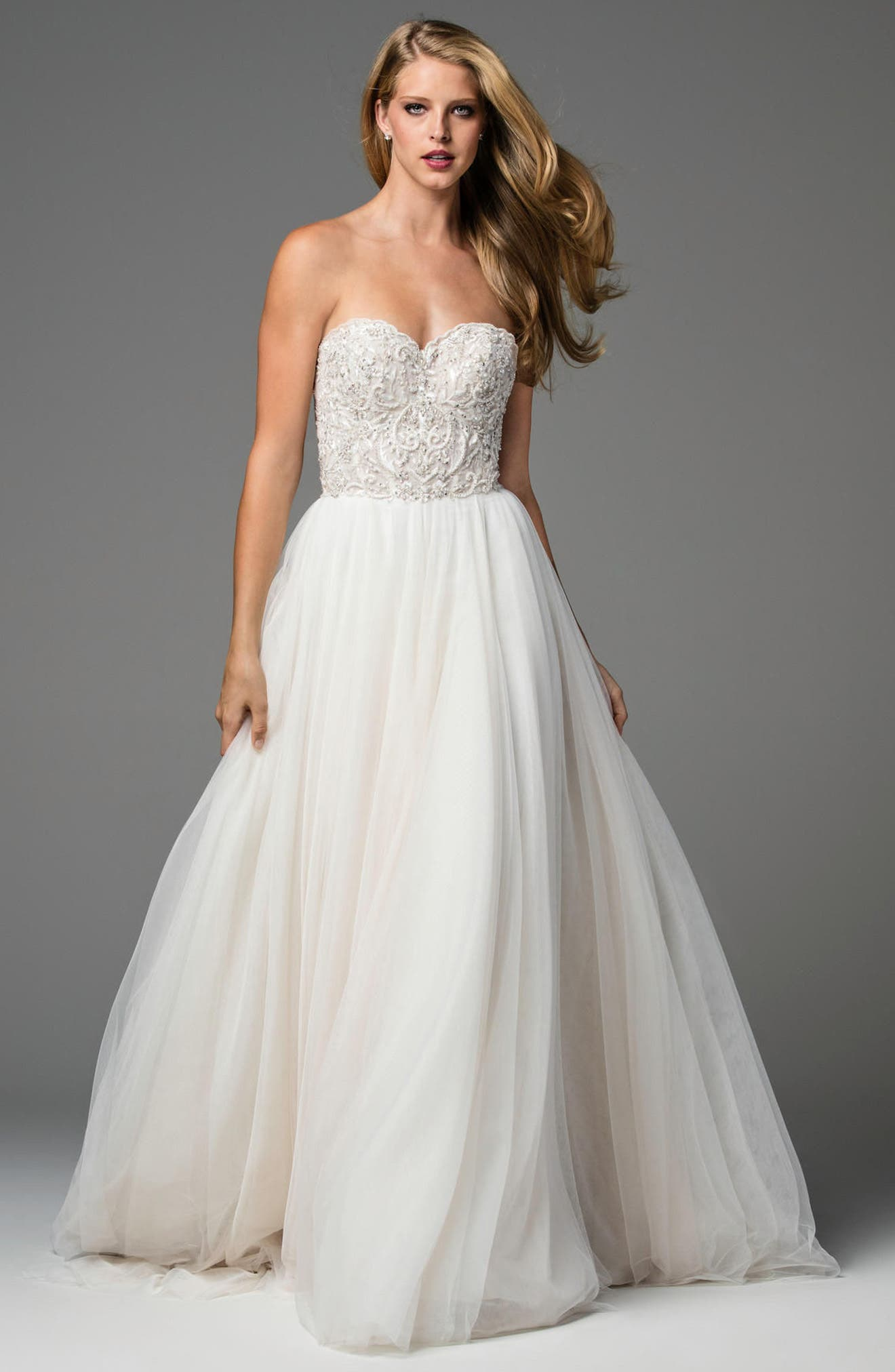Rosina Embellished Strapless Lace & Tulle A-Line Gown,                             Alternate thumbnail 3, color,                             REISLING