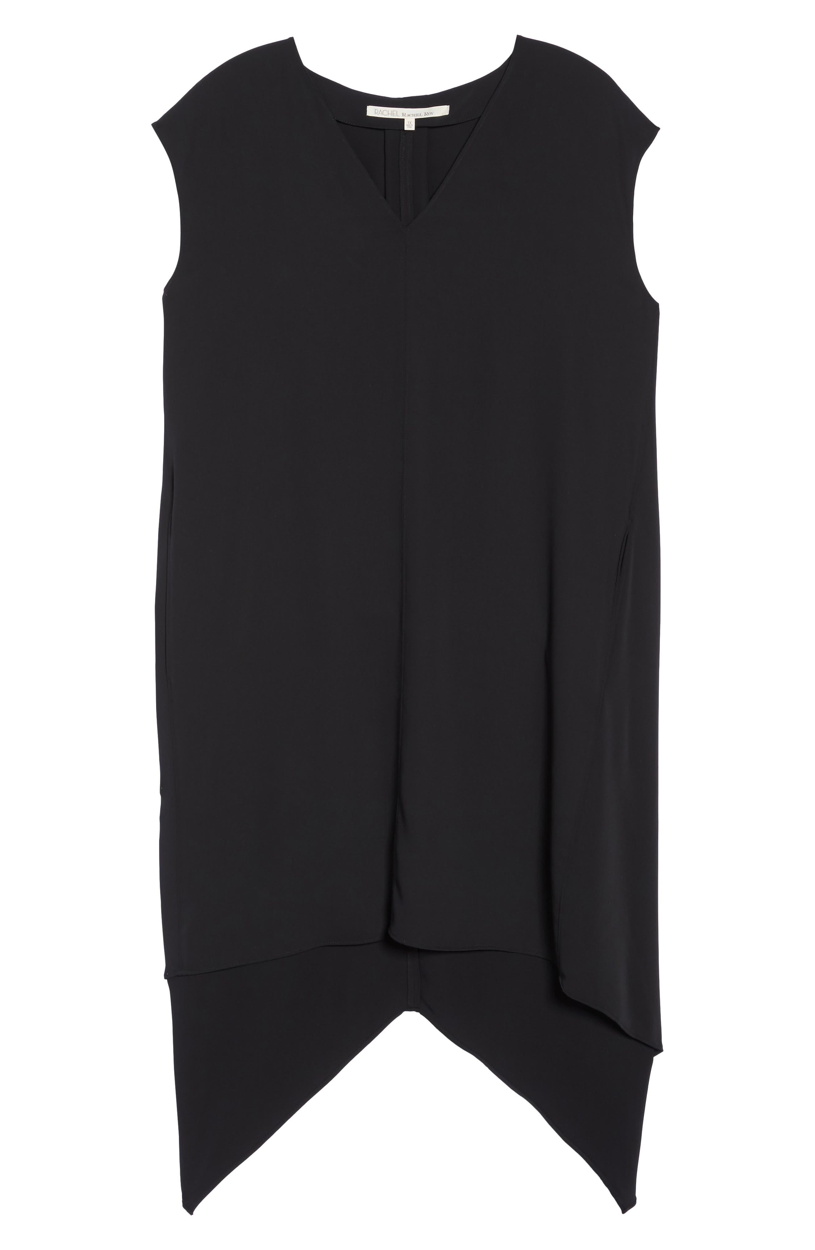Sydney High/Low Dress,                             Alternate thumbnail 3, color,                             BLACK