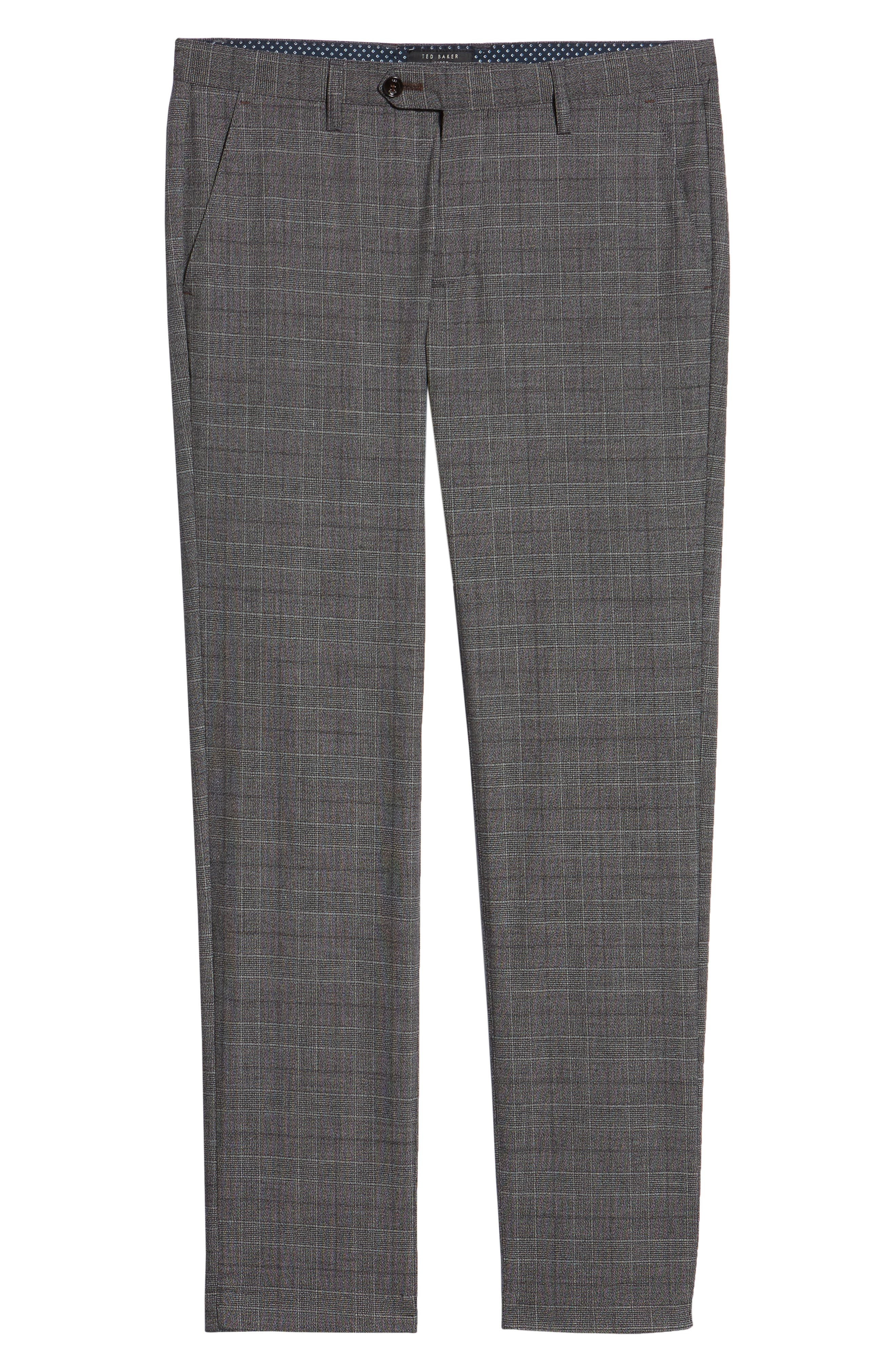 Squared Slim Fit Check Cropped Trousers,                             Alternate thumbnail 6, color,                             GREY