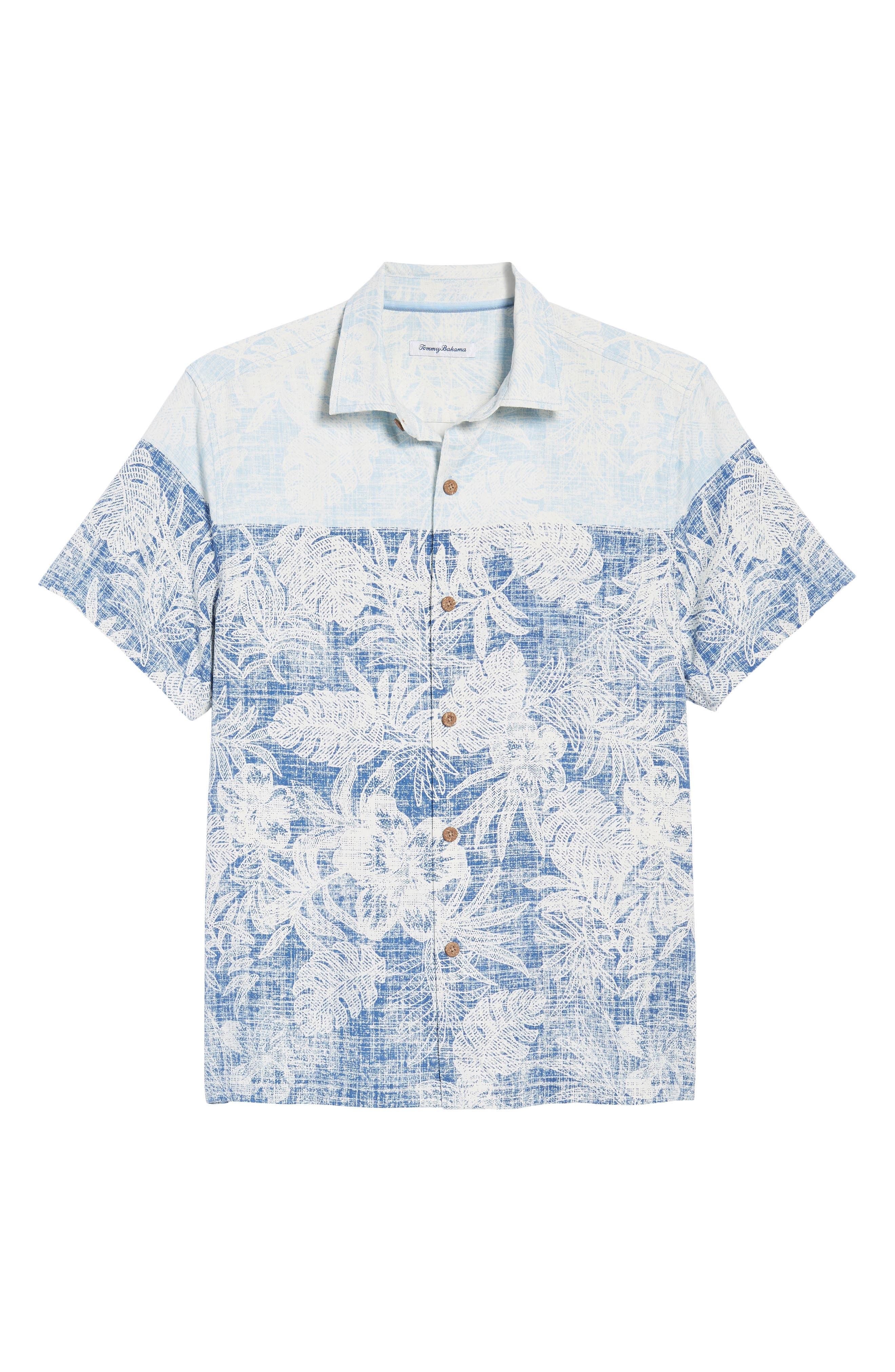 Regular Fit Rising Tides Silk Blend Sport Shirt,                             Alternate thumbnail 6, color,