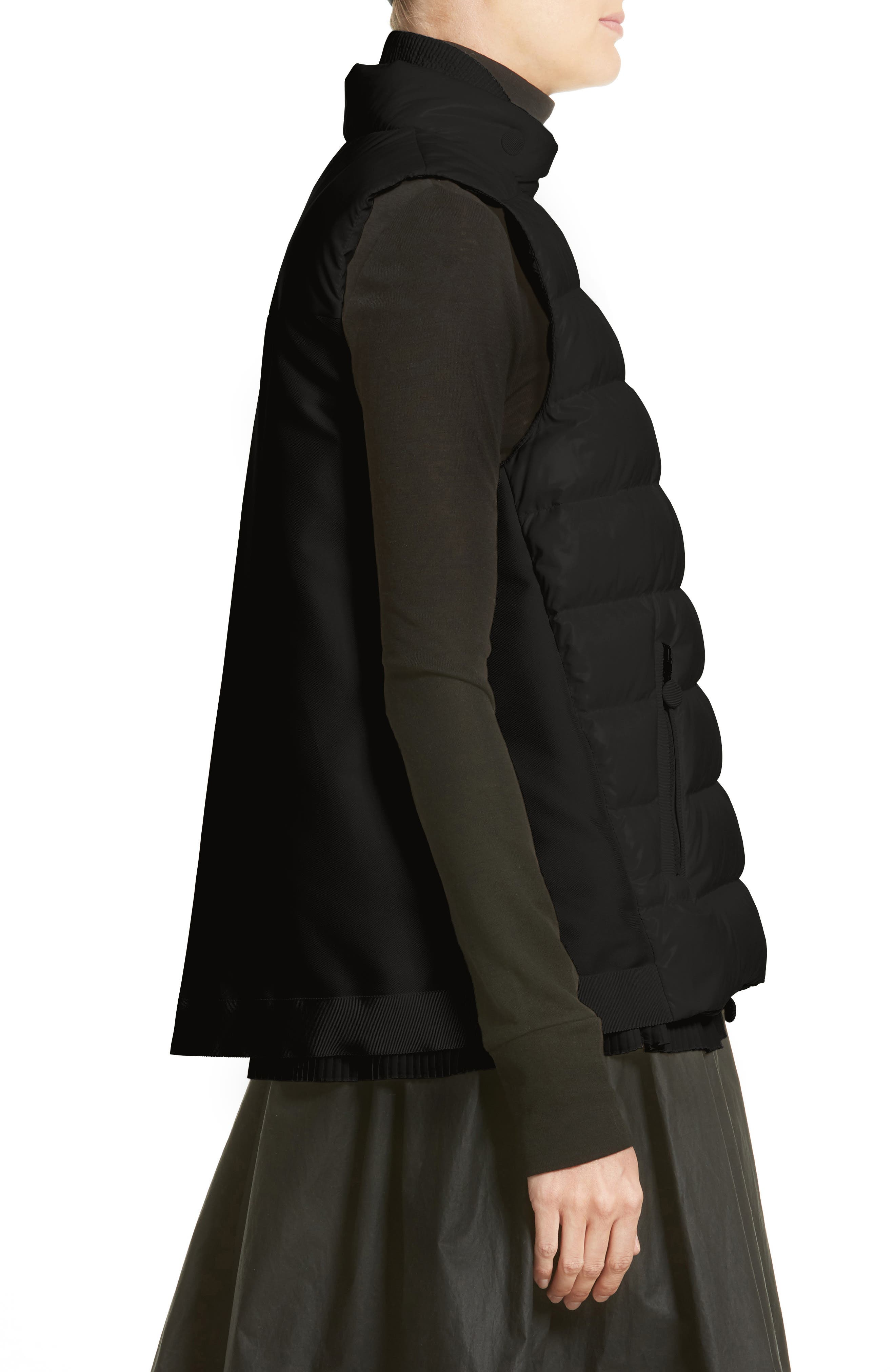 Jane Mixed Media Down Puffer Vest,                             Alternate thumbnail 3, color,                             001