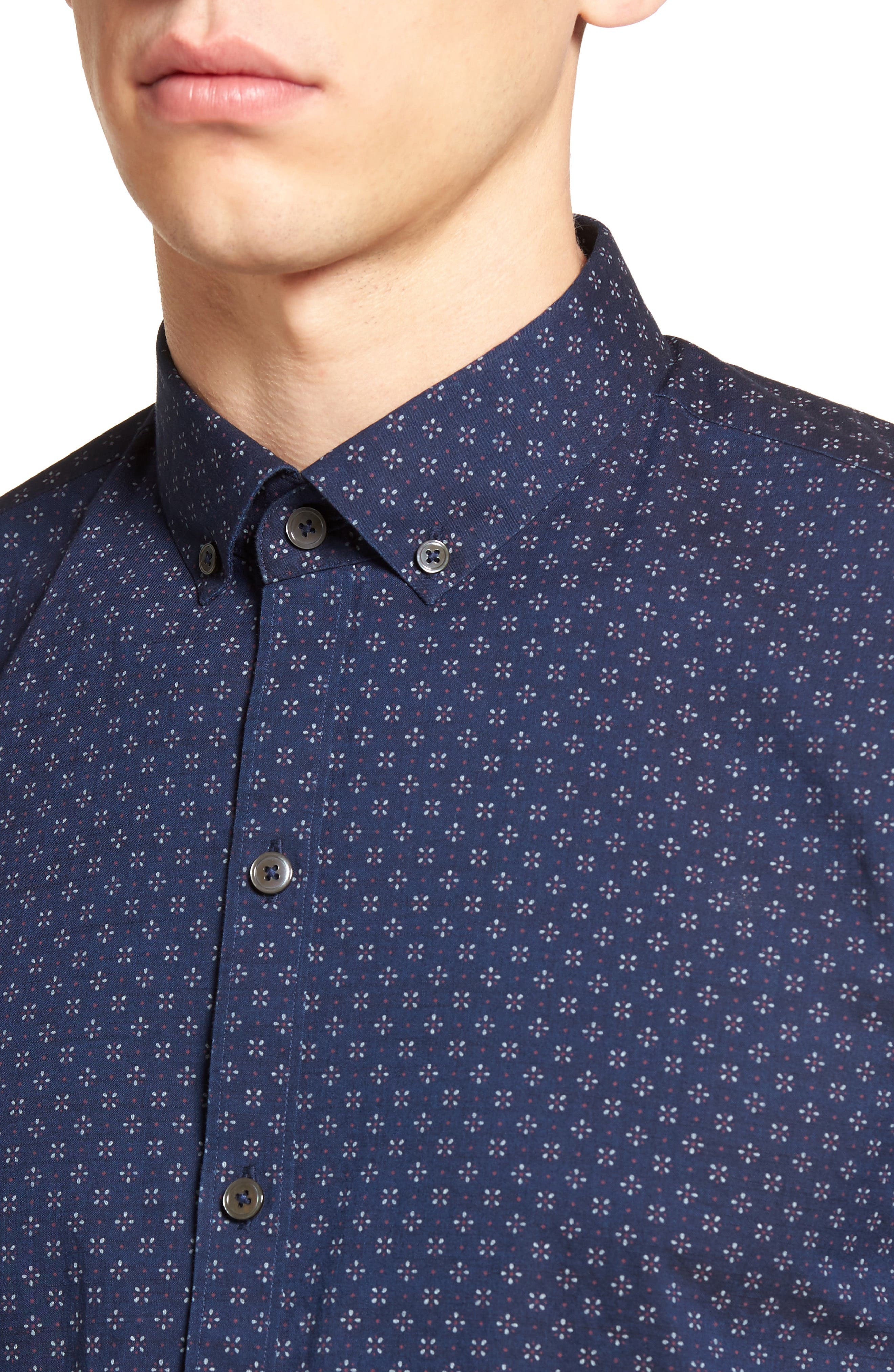 Kinnear Slim Fit Print Shirt,                             Alternate thumbnail 4, color,