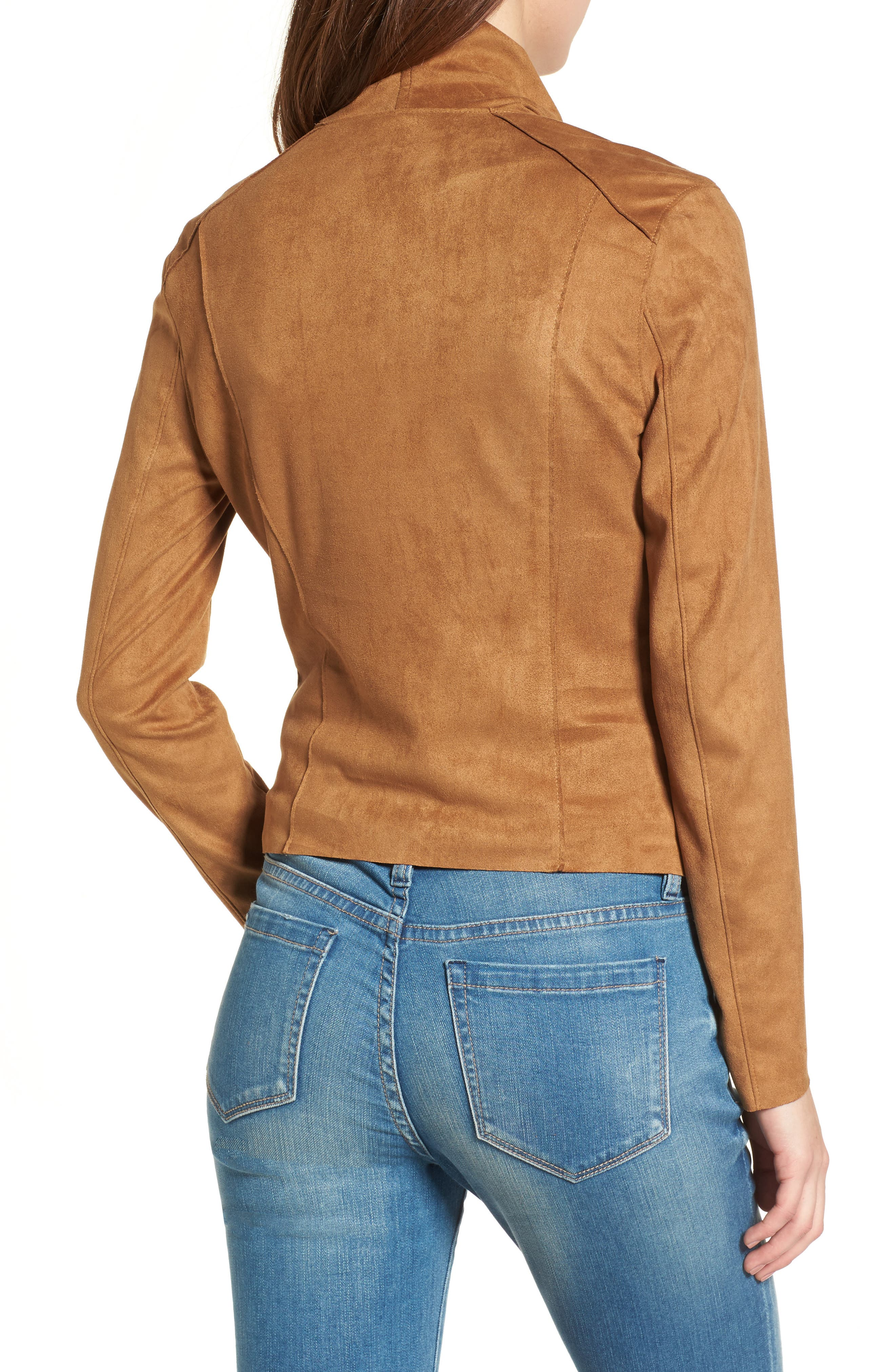 BLANKNYC,                             Drape Front Faux Suede Jacket,                             Alternate thumbnail 2, color,                             CAMEL BACK BROWN