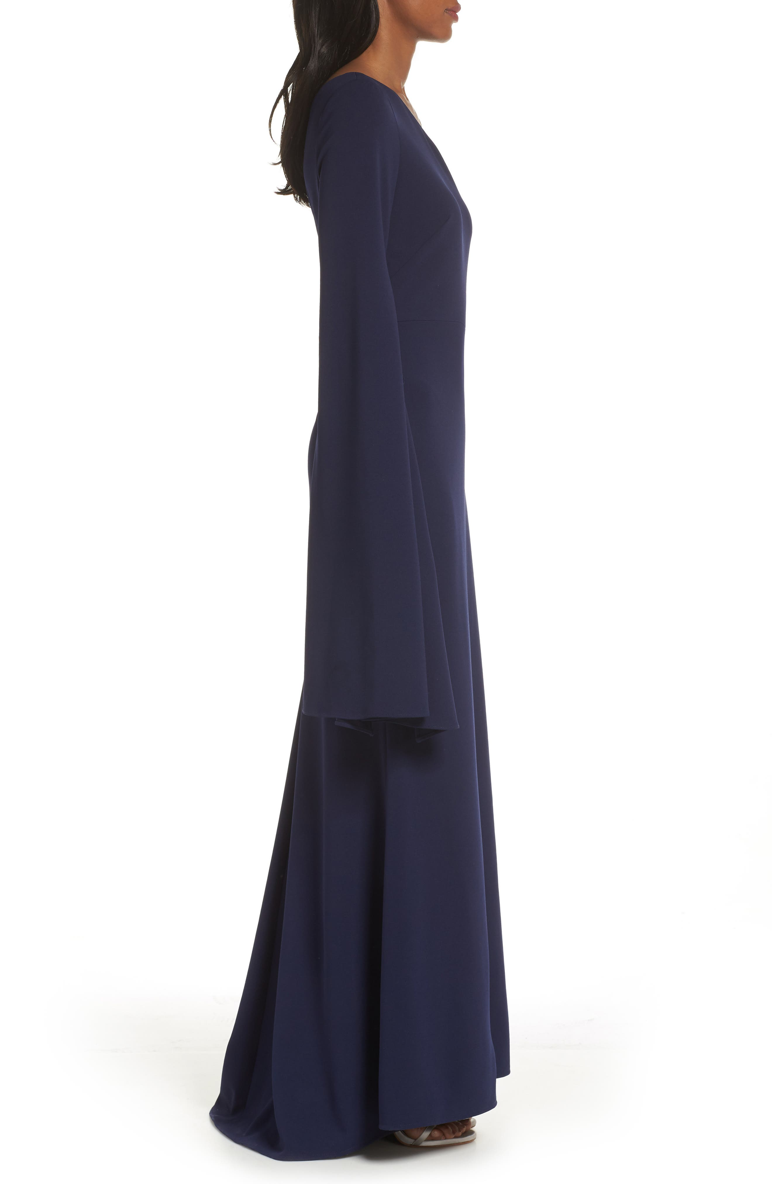 One-Shoulder Gown,                             Alternate thumbnail 3, color,                             NAVY