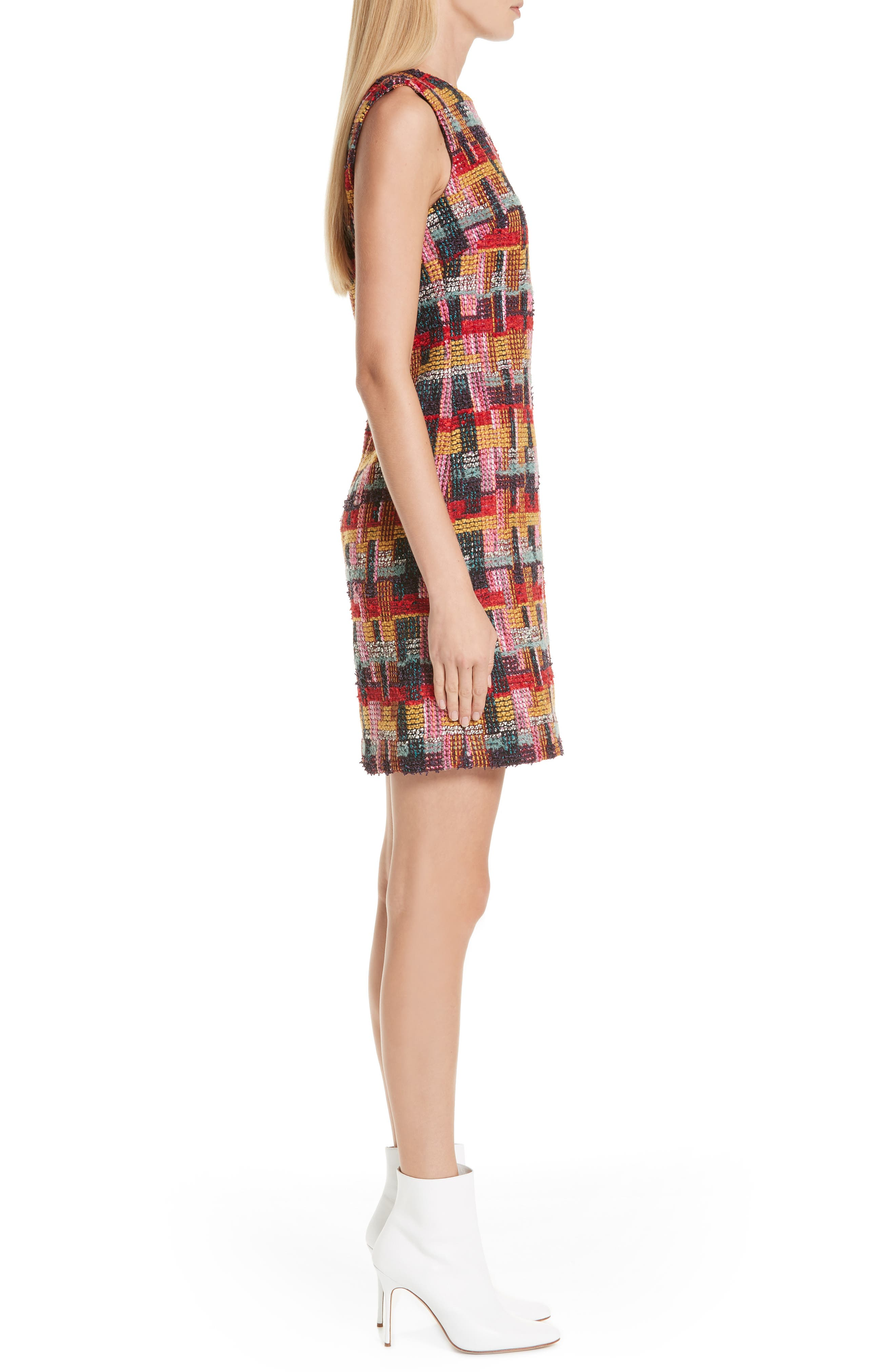 Multicolor Tweed Sheath Dress,                             Alternate thumbnail 3, color,                             RED