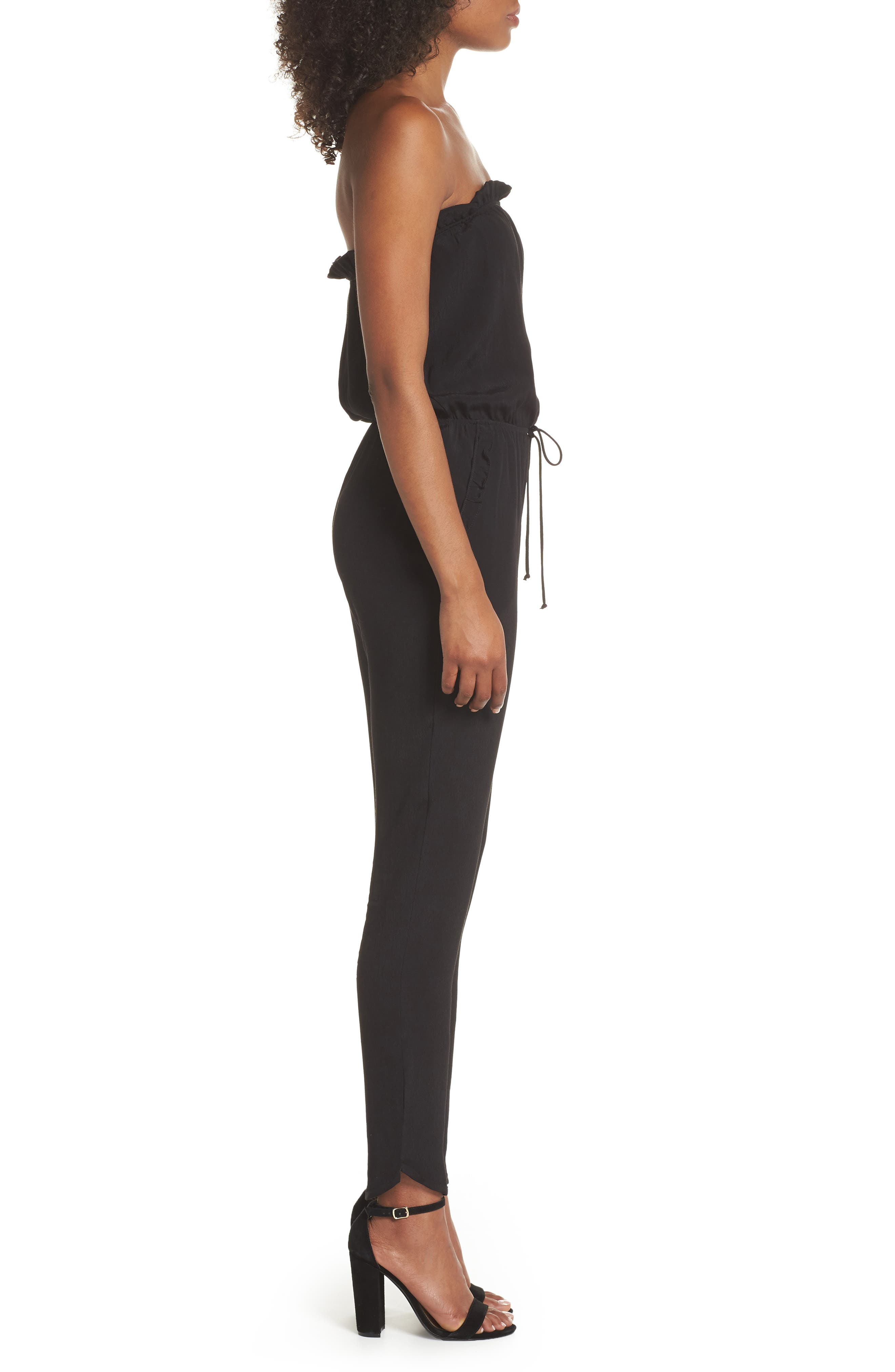 Strapless Jumpsuit,                             Alternate thumbnail 3, color,                             BLACK