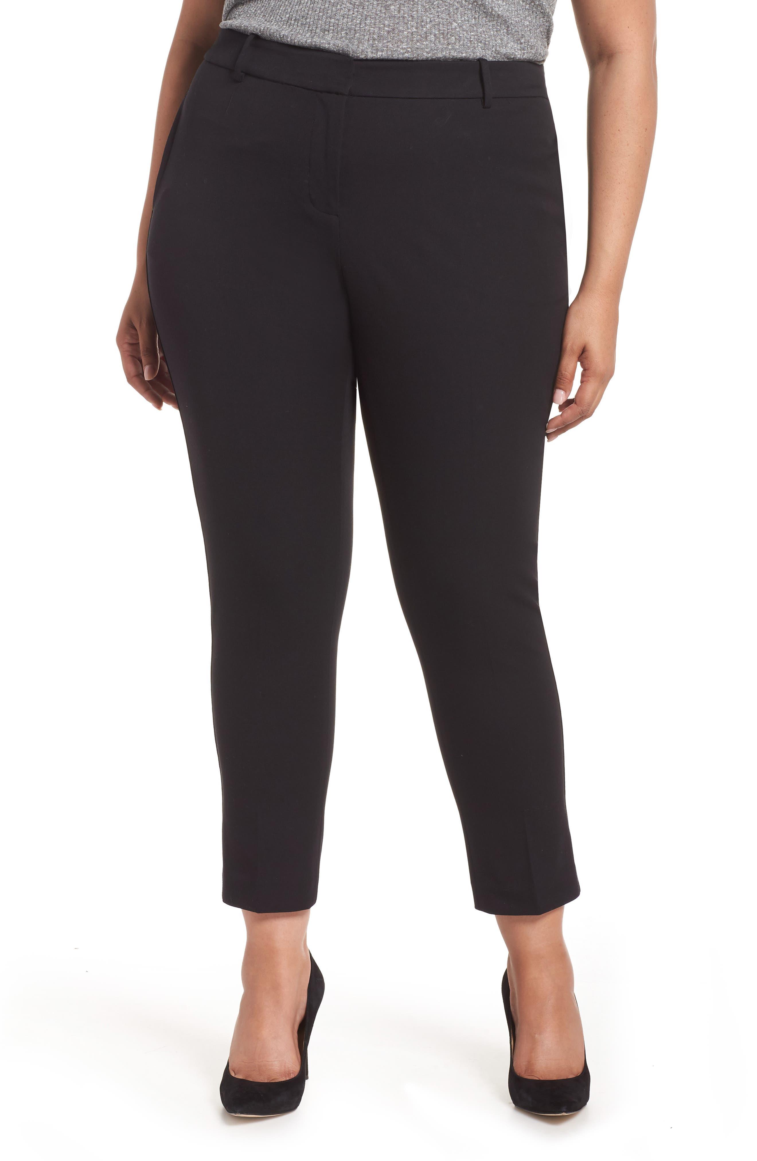 Stretch Cotton Blend Twill Ankle Pants,                             Main thumbnail 1, color,                             RICH BLACK