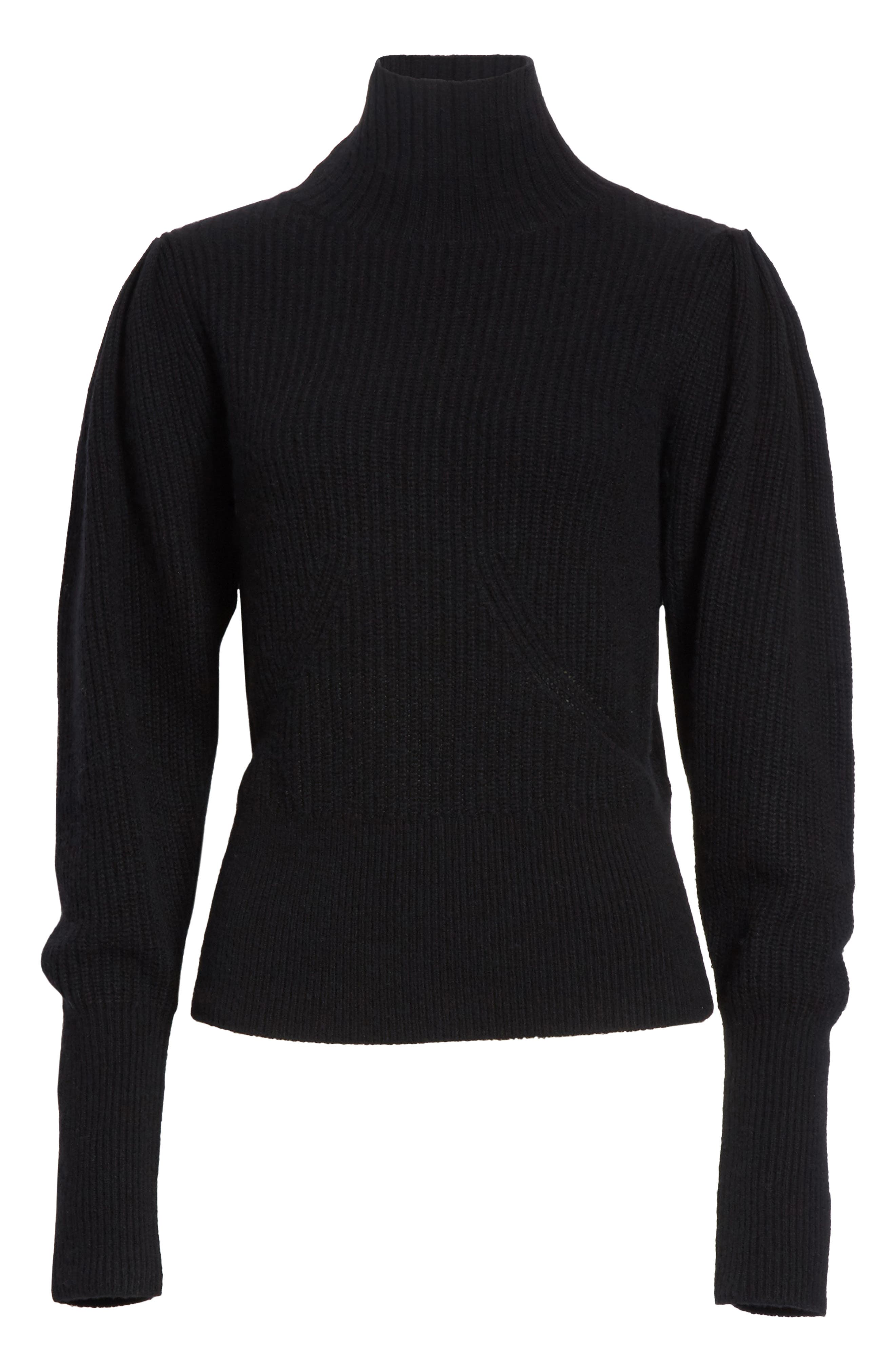 Wool & Cashmere Puff Sleeve Turtleneck Sweater,                             Alternate thumbnail 6, color,                             001