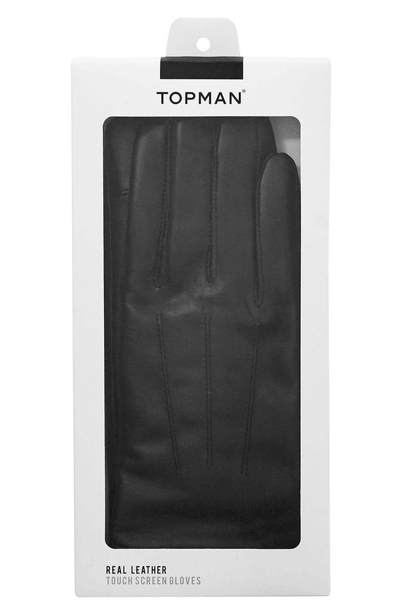 Leather Gloves,                             Alternate thumbnail 3, color,                             001