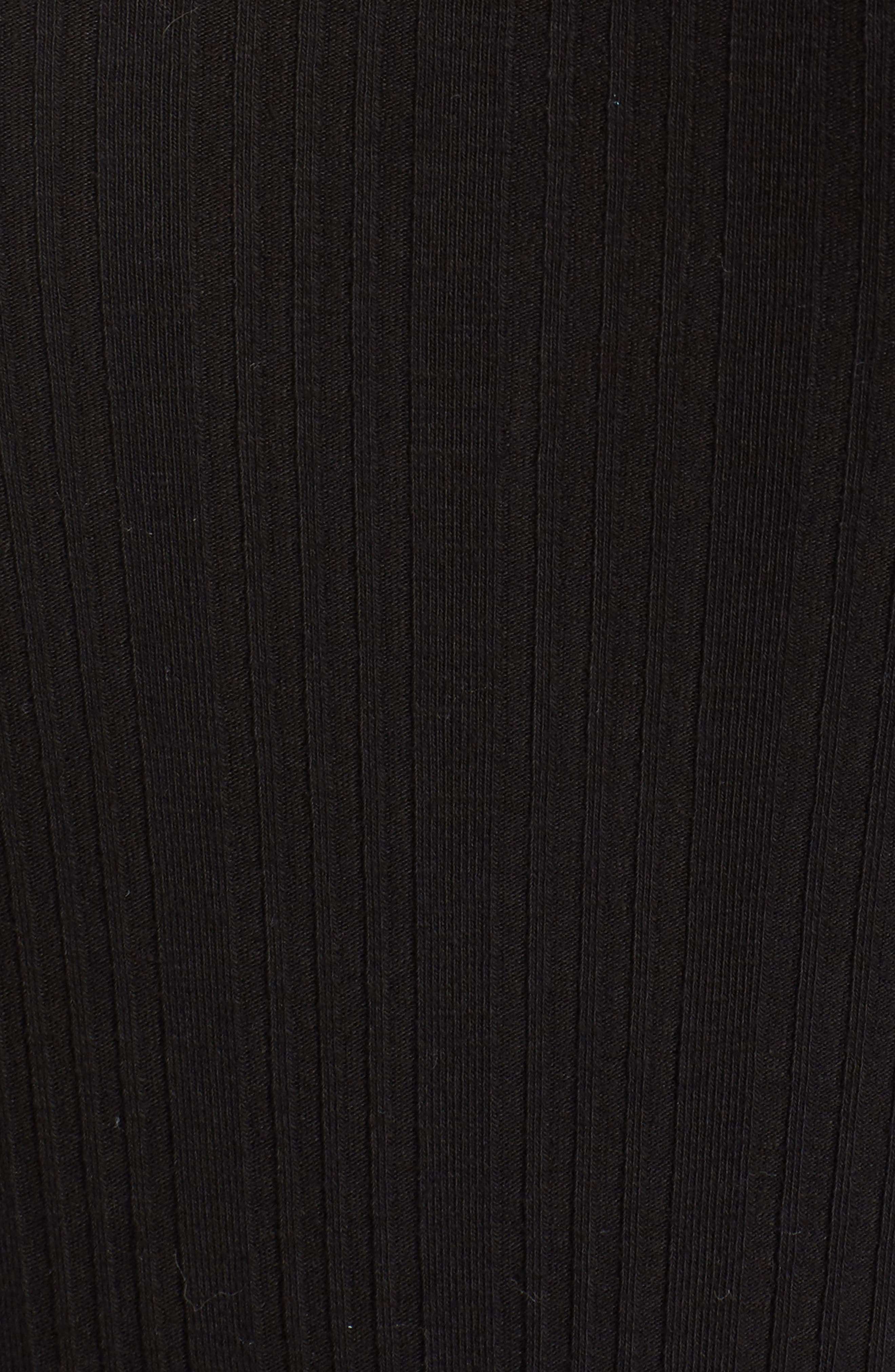 Ribbed Lace Trim Bodysuit,                             Alternate thumbnail 5, color,                             001