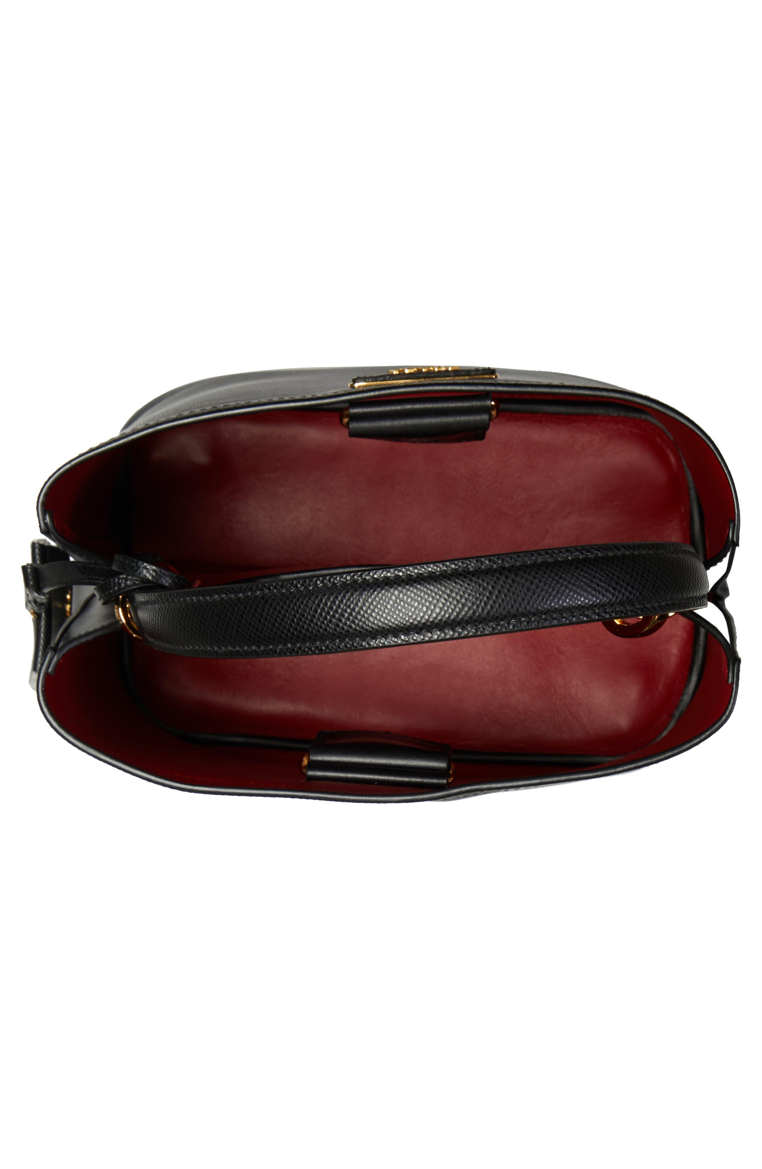 Small Saffiano Leather Bucket Bag,                             Alternate thumbnail 3, color,                             NERO/ FUOCO