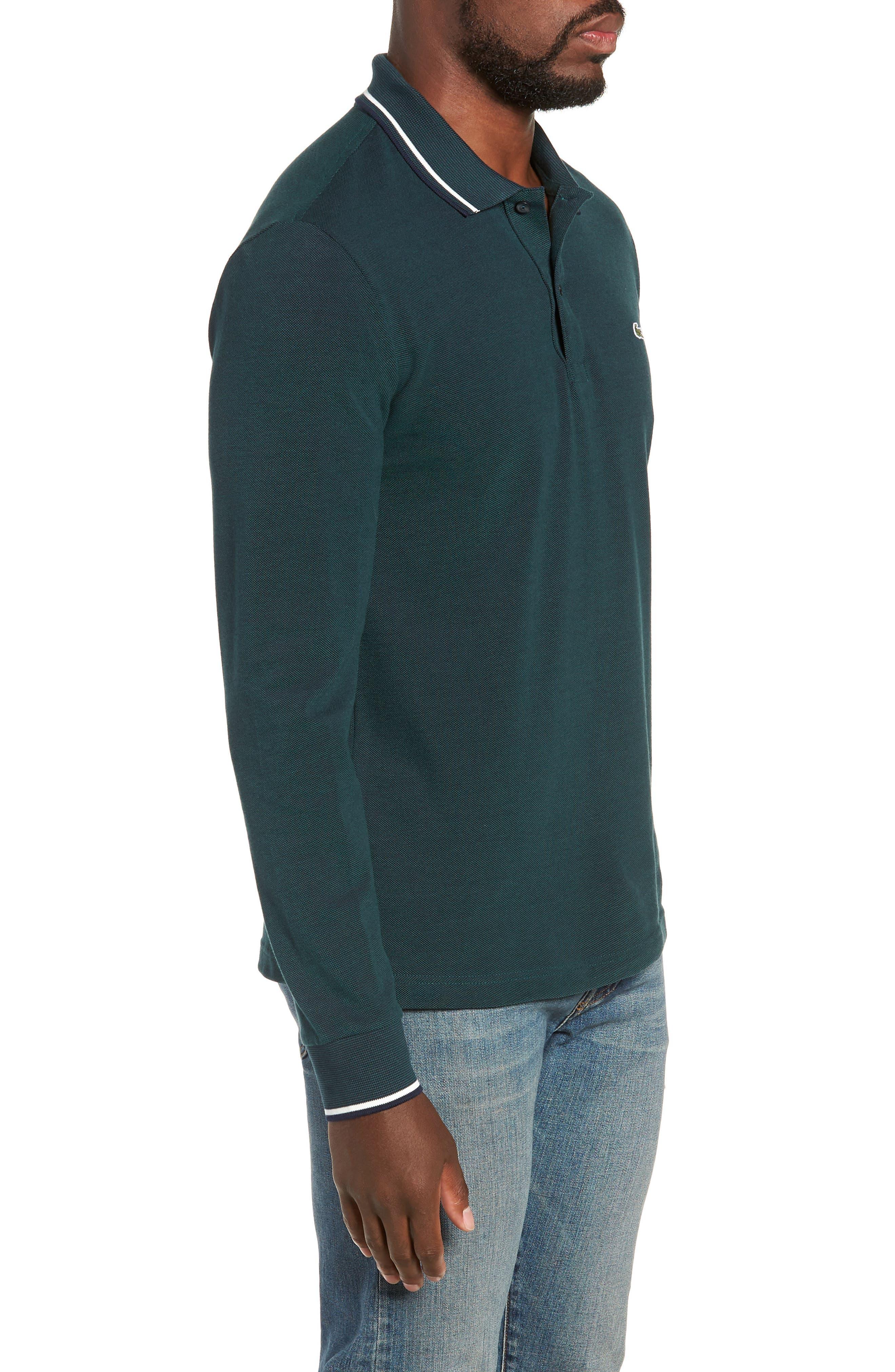Slim Fit Long Sleeve Piqué Polo,                             Alternate thumbnail 3, color,                             ACONITE/ DARK NAVY BLUE