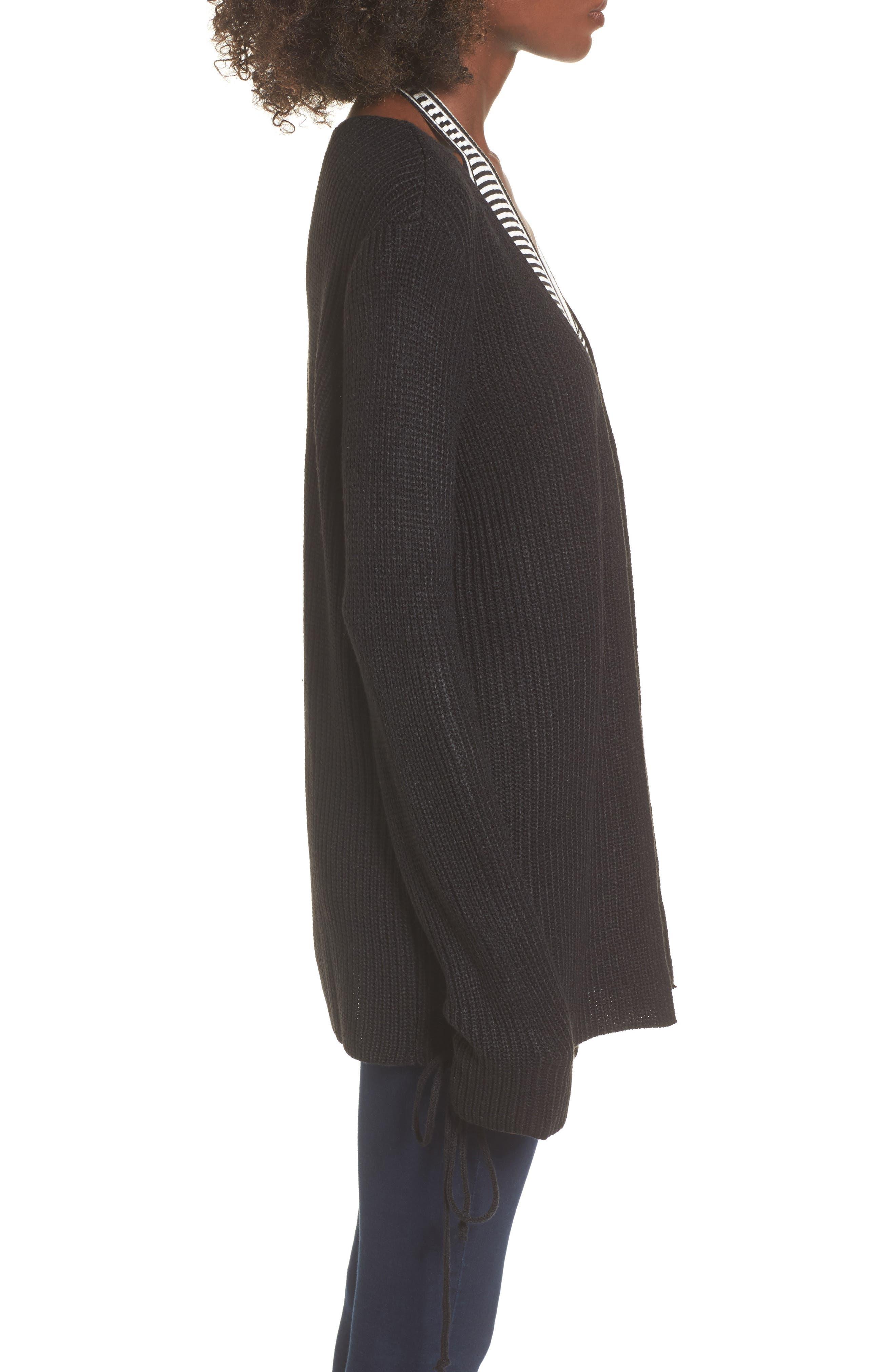Tie Sleeve Cardigan,                             Alternate thumbnail 3, color,                             001