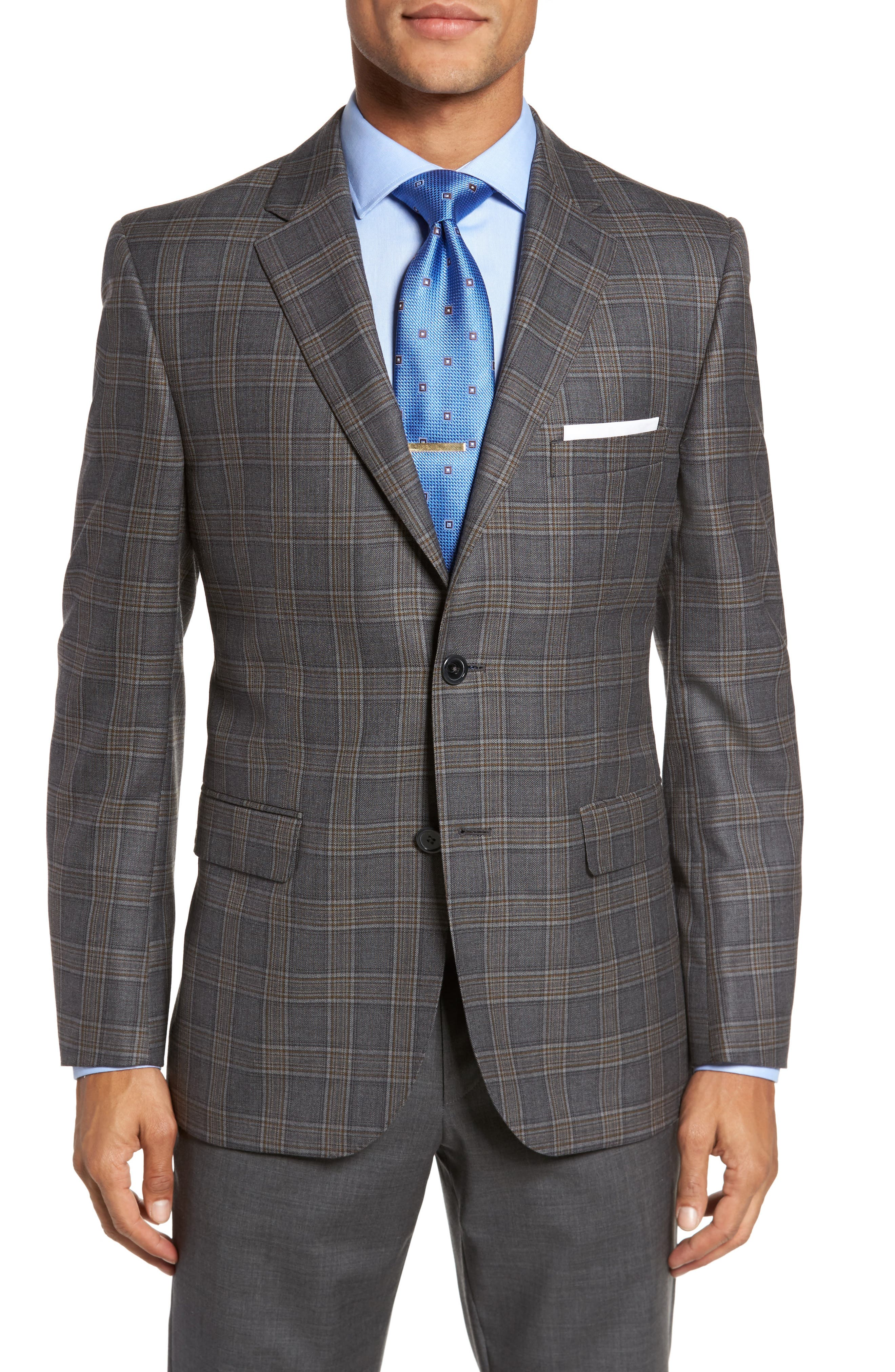 Classic Fit Plaid Wool Sport Coat,                             Main thumbnail 1, color,                             020