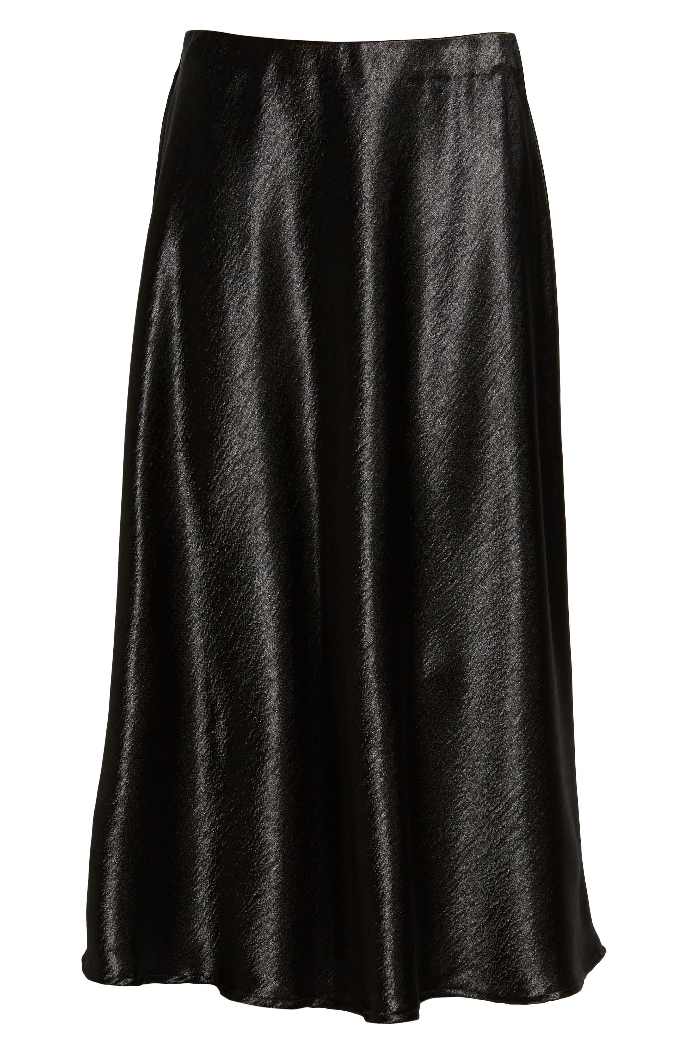 Satin Midi Skirt,                             Alternate thumbnail 6, color,                             BLACK