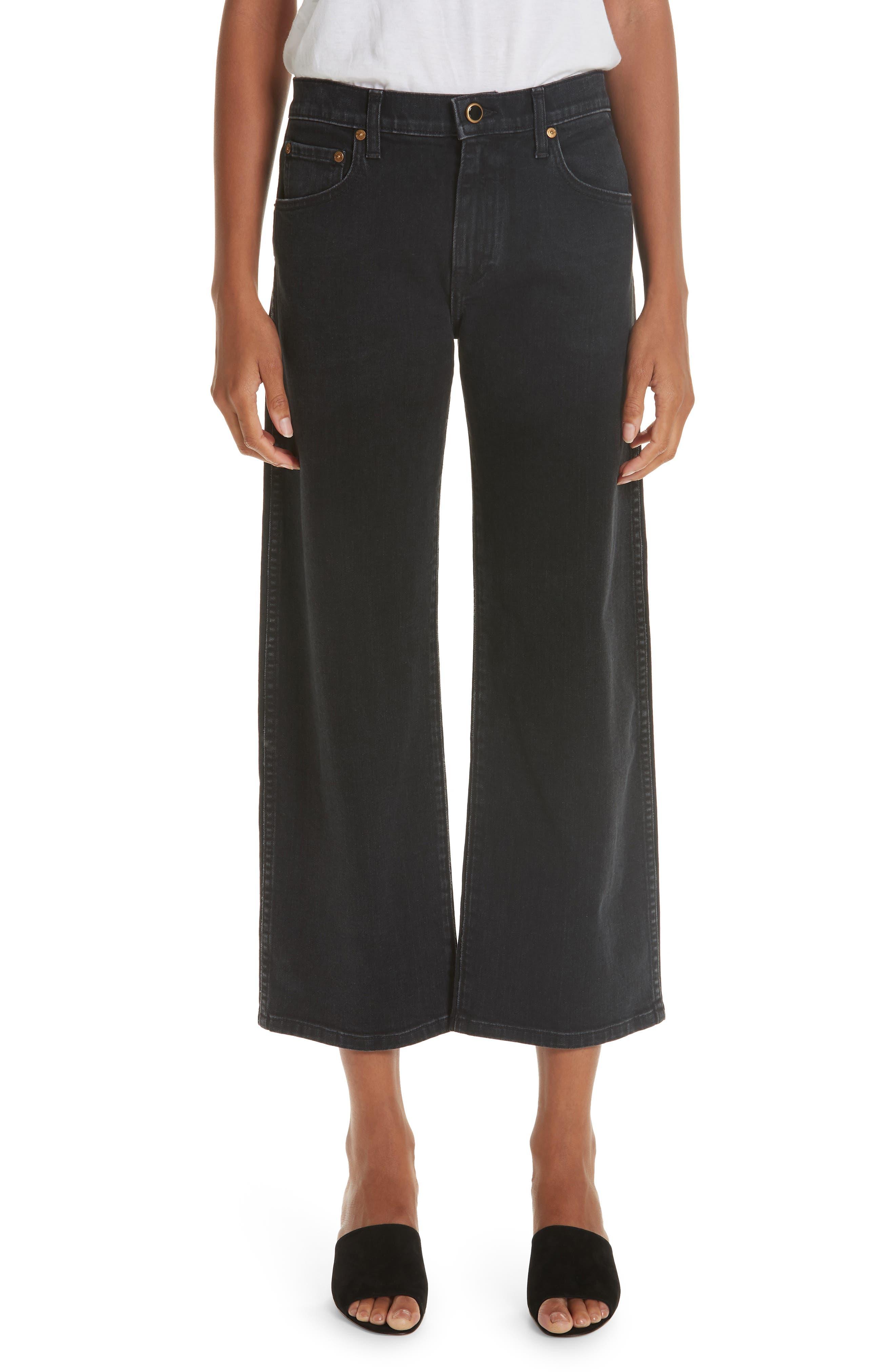 KHAITE,                             Wendell Wide Leg Crop Jeans,                             Main thumbnail 1, color,                             STONED BLACK