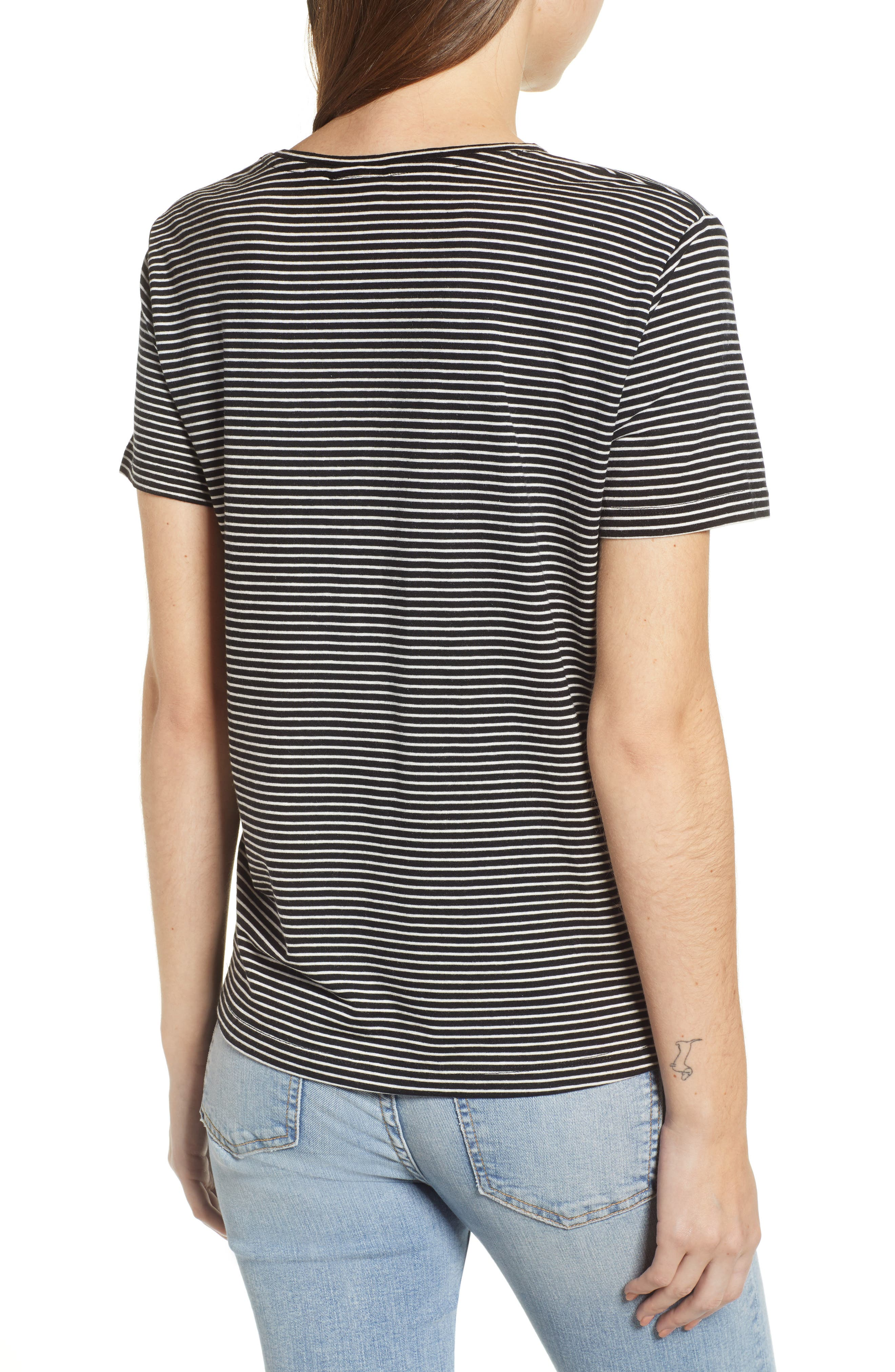 Ava Stripe Tee,                             Alternate thumbnail 2, color,                             BLACK STRIPE