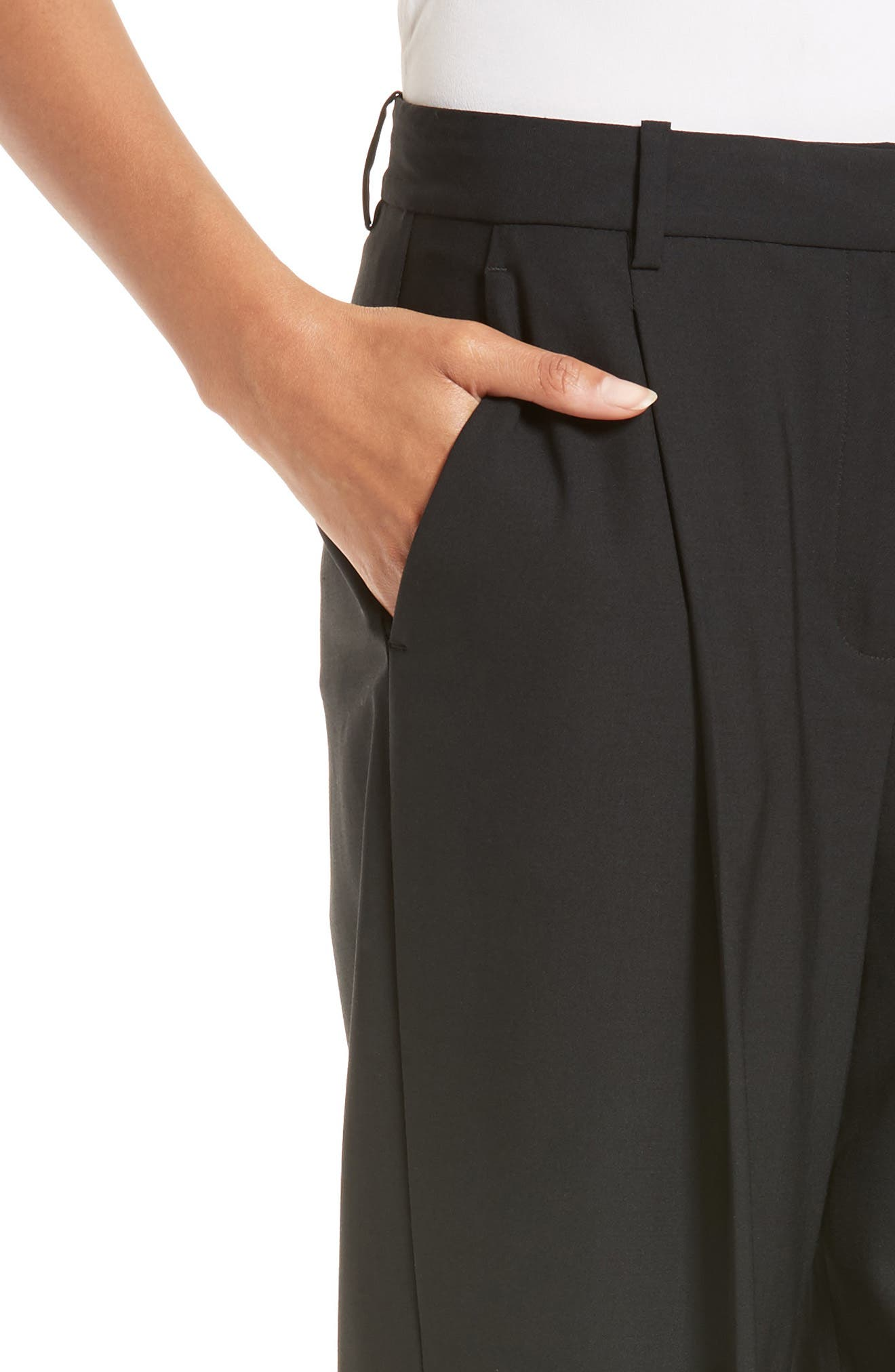 Pleat Front Pants,                             Alternate thumbnail 4, color,                             001