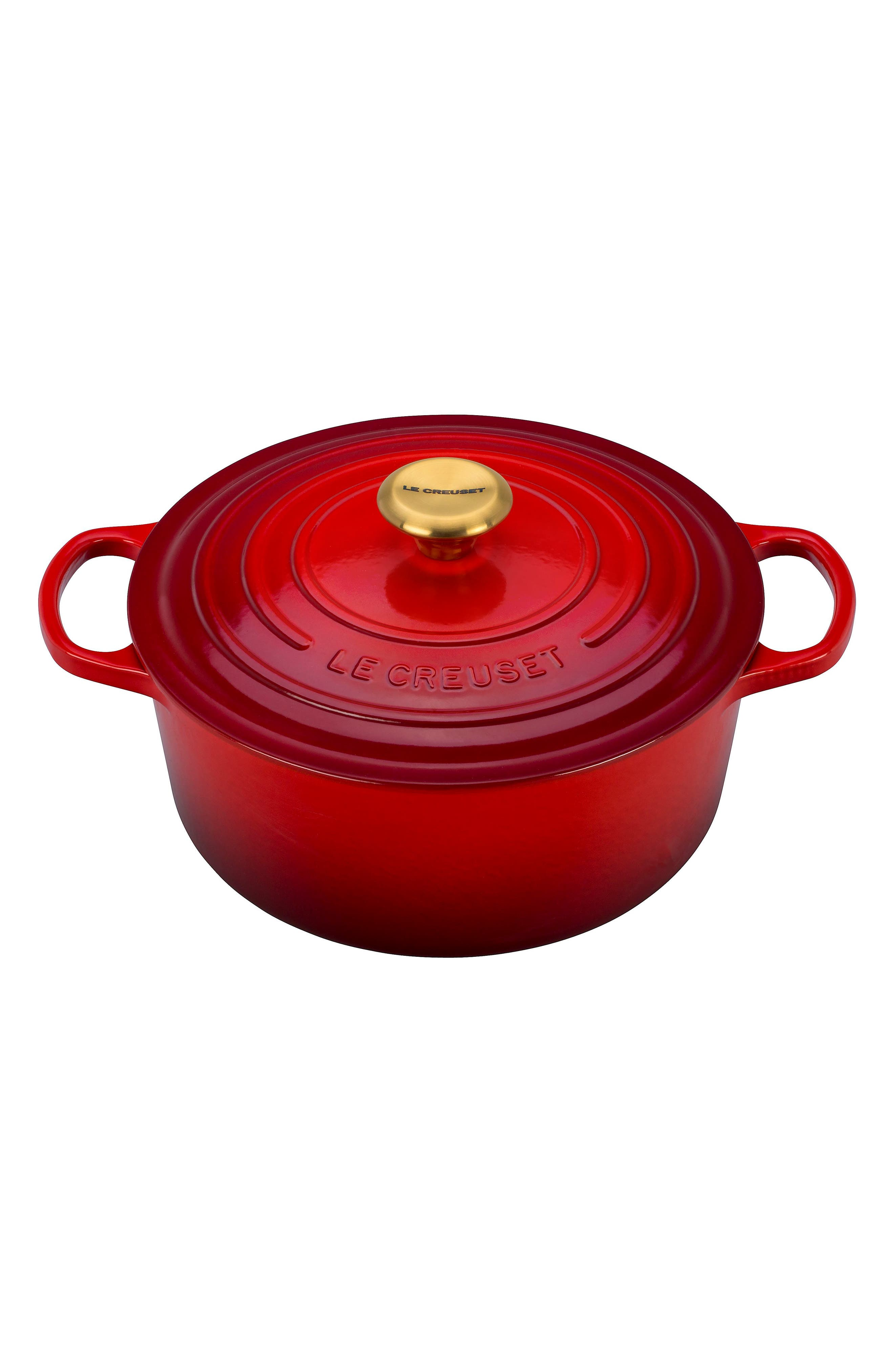 Gold Knob Collection 5 1/2 Quart Round French/Dutch Oven,                             Alternate thumbnail 2, color,                             CHERRY/CERISE GOLD