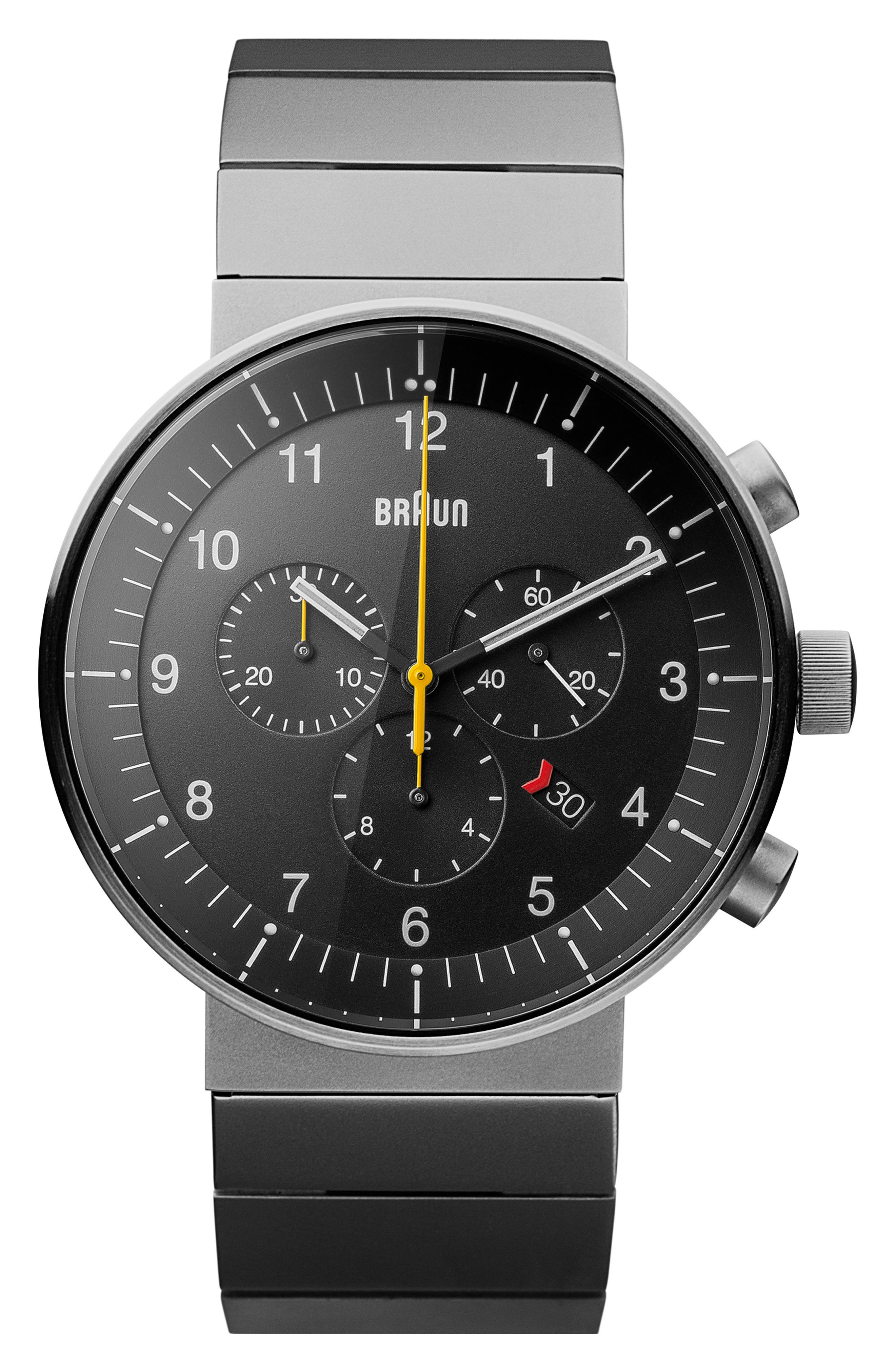 BRAUN Prestige Chronograph Bracelet Watch, 43Mm in Gunmetal/ Black/ Gunmetal