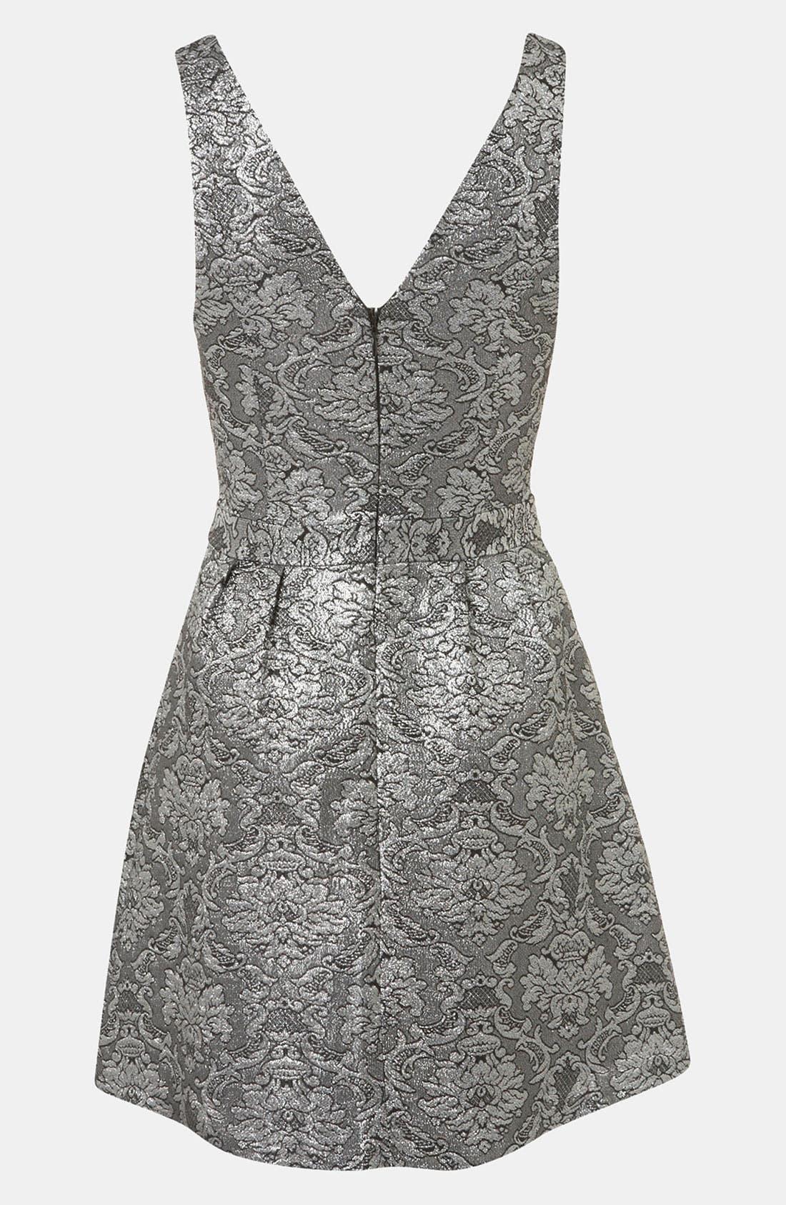 Brocade Cutout Dress,                             Alternate thumbnail 3, color,