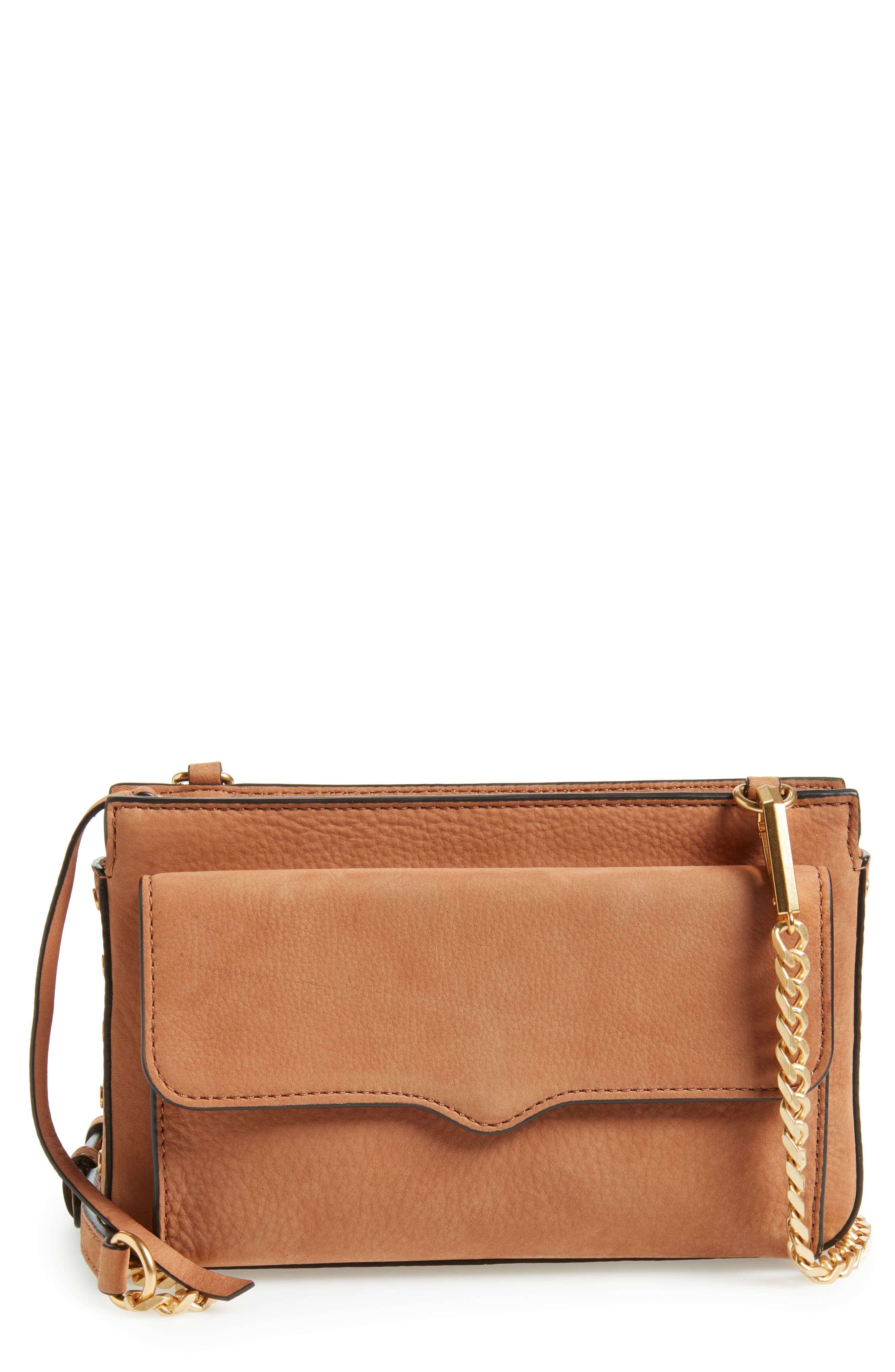 Medium Bree Nubuck Crossbody Wallet,                         Main,                         color, ALMOND