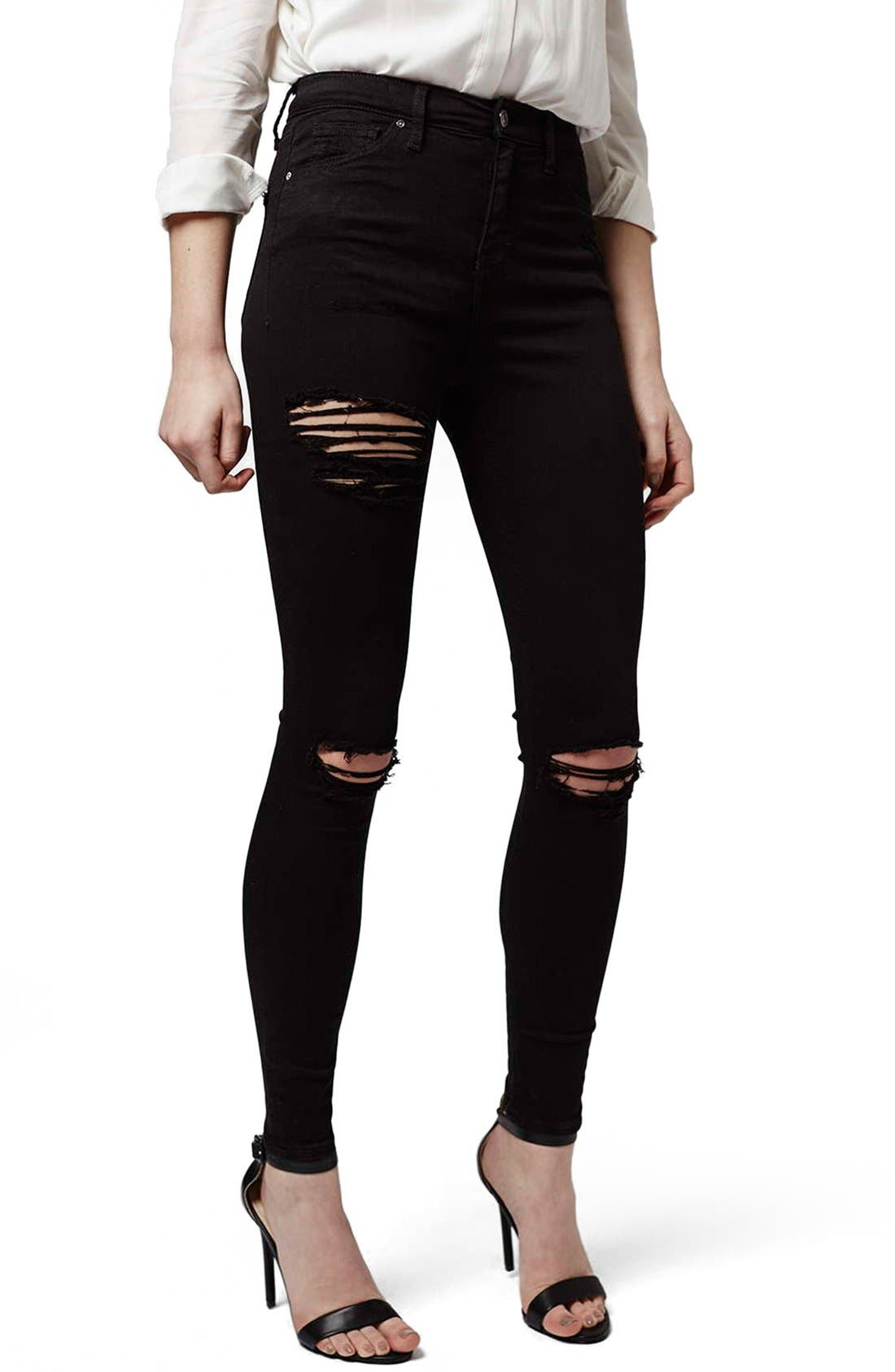 Ripped High Waist Ankle Skinny Jeans,                             Main thumbnail 1, color,                             001