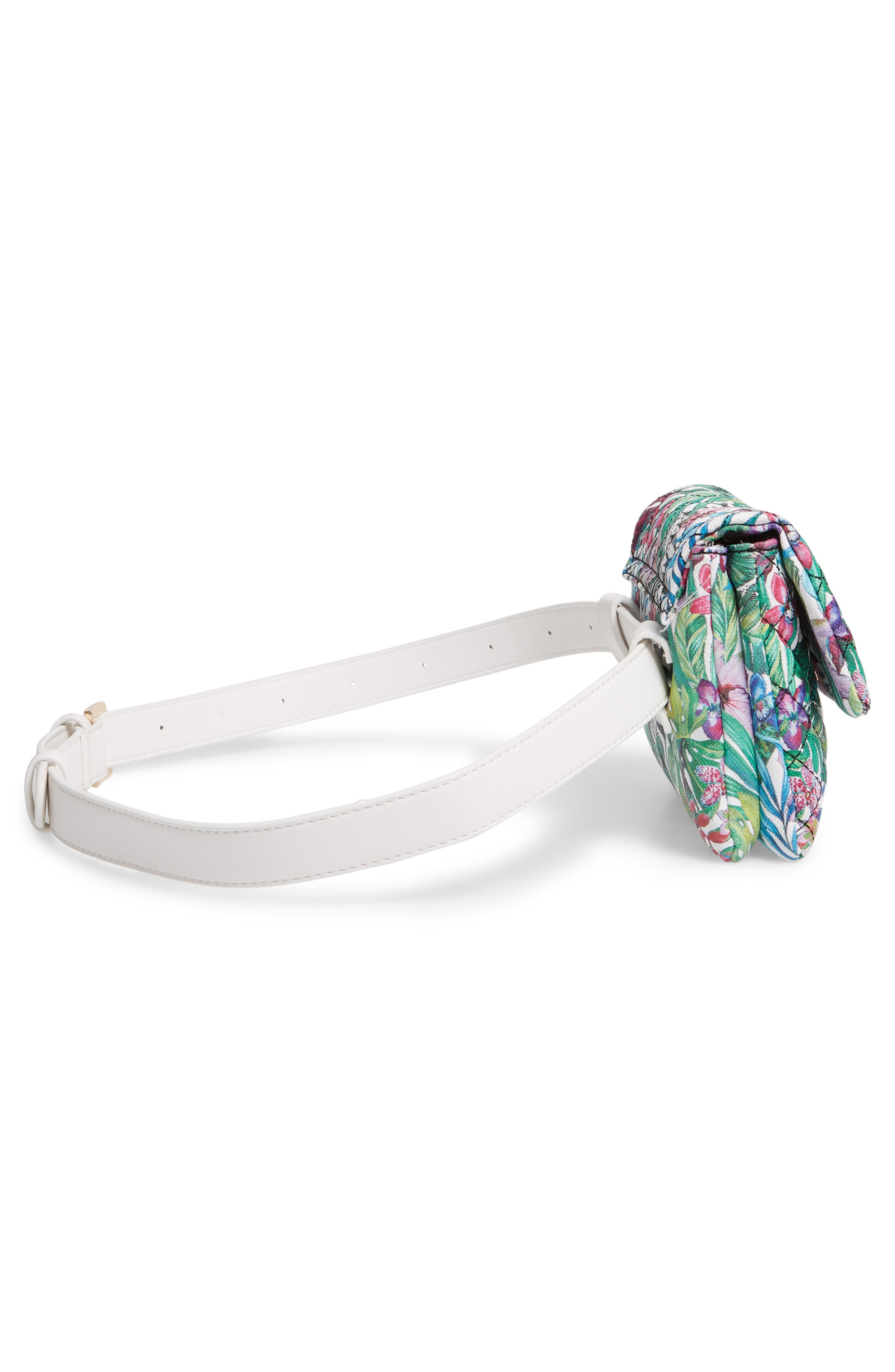 MALI + LILI,                             Quilted Vegan Leather Belt Bag,                             Alternate thumbnail 7, color,                             WHITE FLORAL