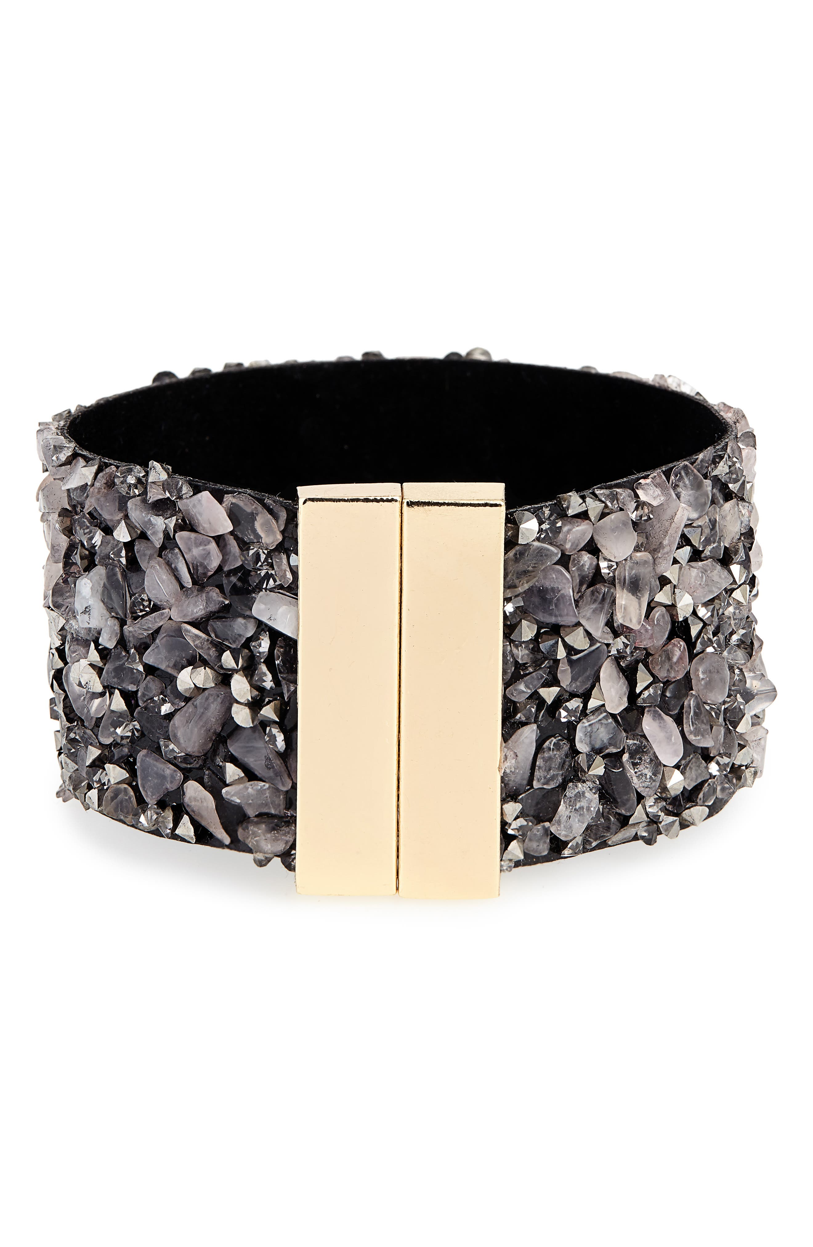 PANACEA Stone & Leather Cuff Bracelet in Grey